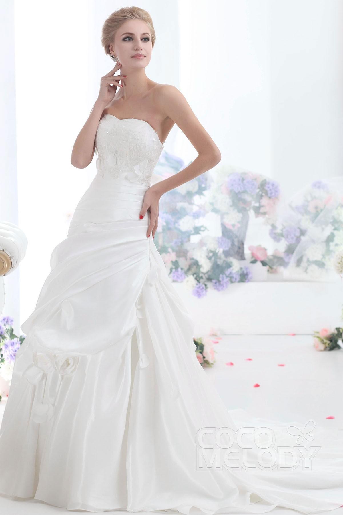 Cocomelody a line sweetheart chapel train taffeta wedding for Wedding dresses wichita ks