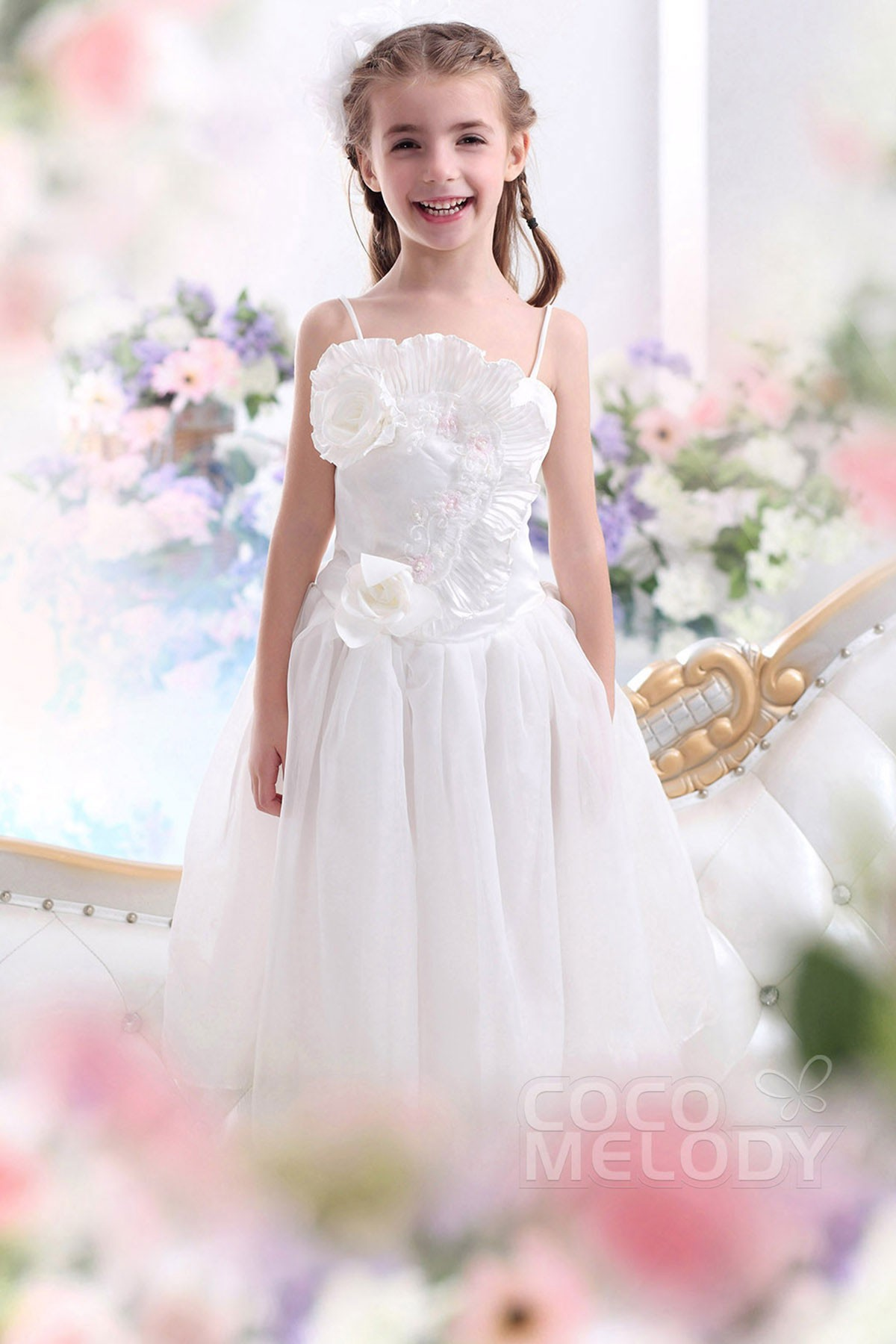 A Line Spaghetti Strap Floor Length Taffeta Ivory Flower Girl Dress G12019