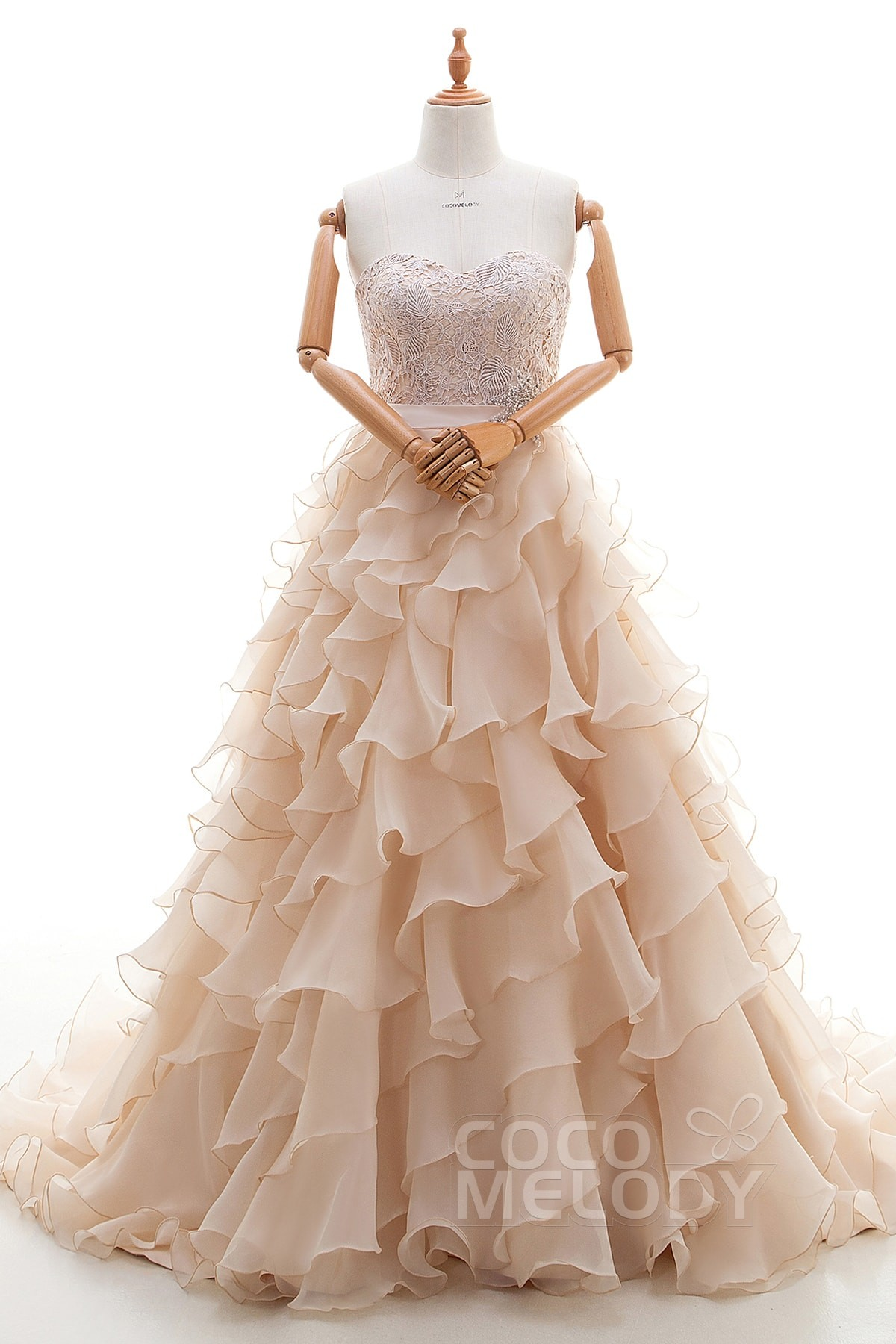 Sweet A-Line Sweetheart Natural Train Organza Dark Champagne Sleeveless Lace Up-Corset Wedding Dress with Sashes and Tiered H1AL0075