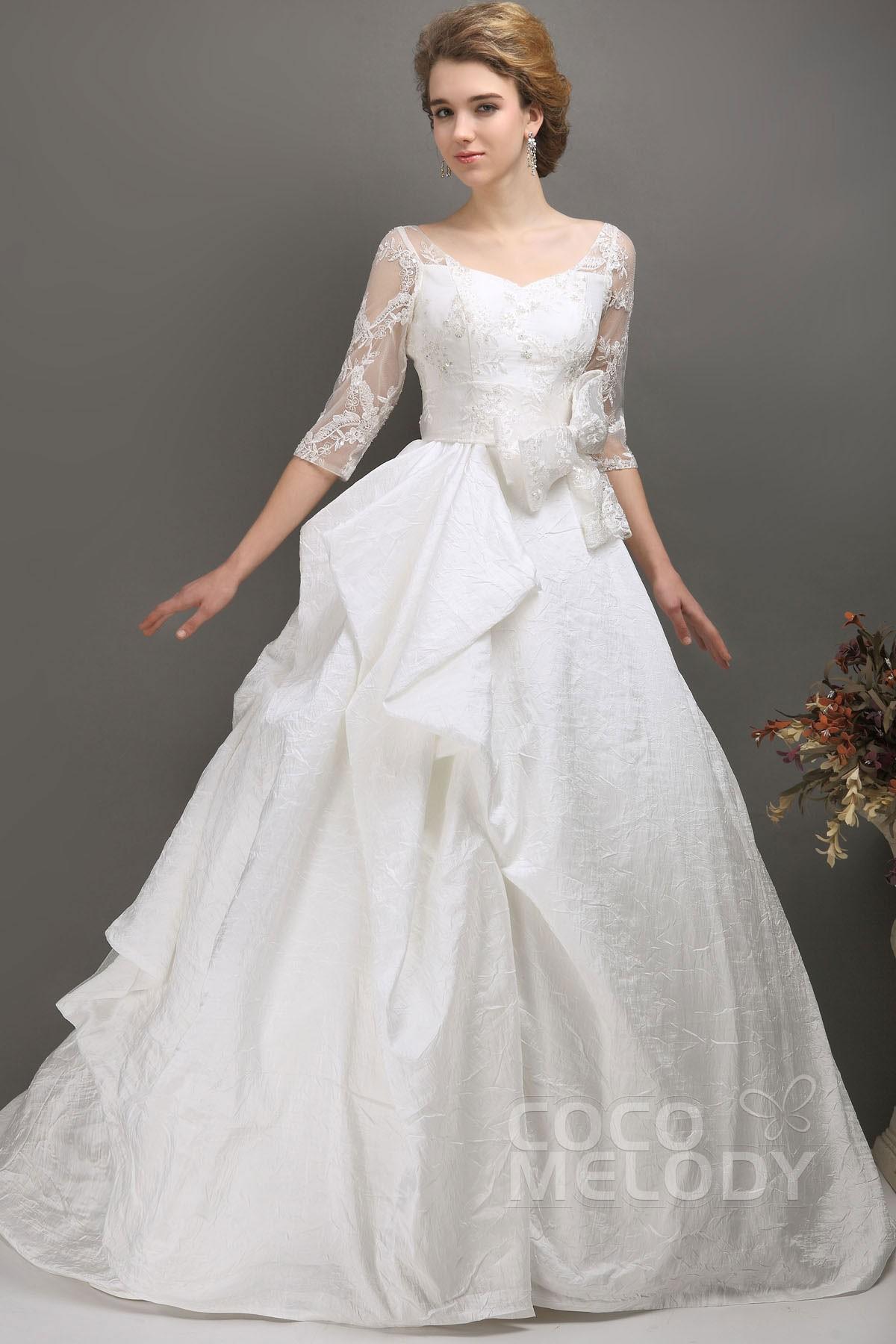 Glorious Ivory Half Sleeve Chapel Train Taffeta Key Hole Wedding Dress CWLT13065