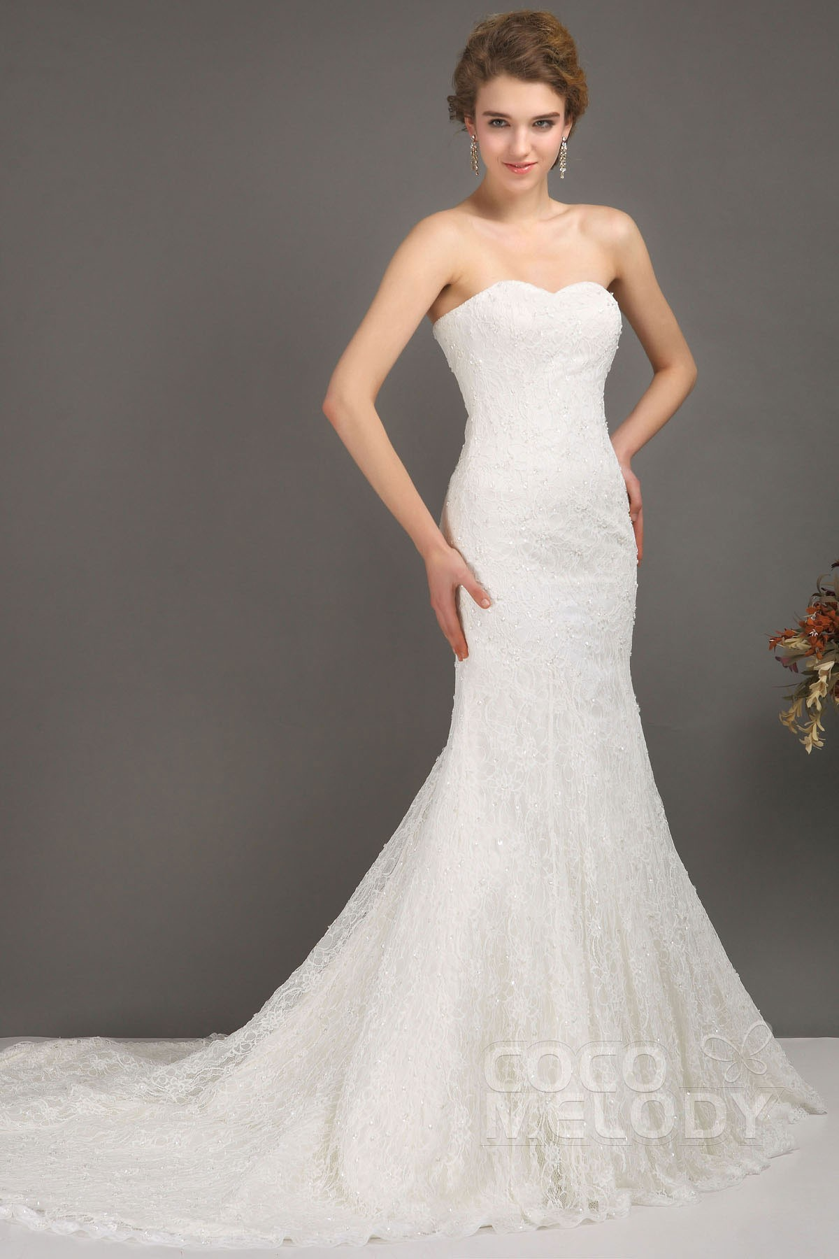 Charming Trumpet-Mermaid Sweetheart Dropped Chapel Train Lace Ivory Wedding Dress with Beading CWLT09001