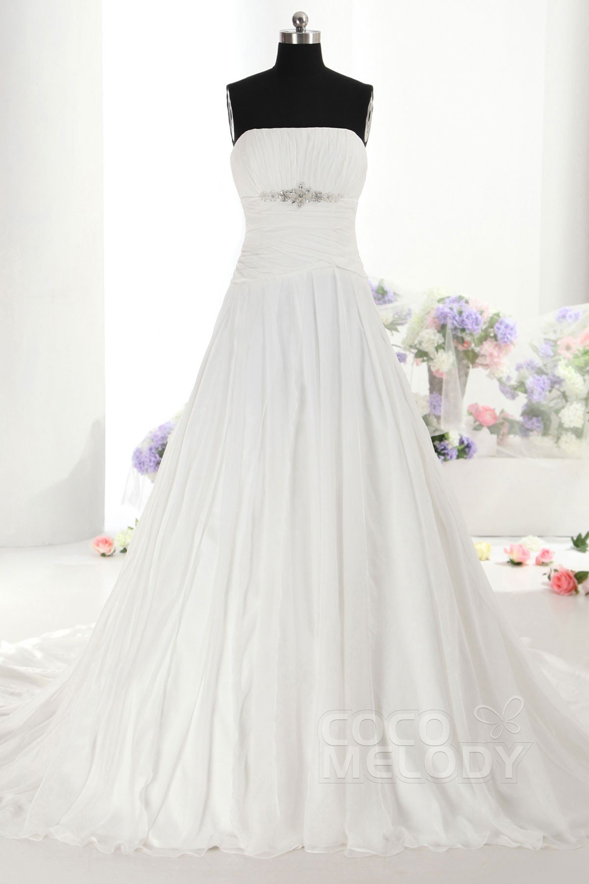 Divine A-Line Strapless Natural Train Chiffon Ivory Sleeveless Zipper Wedding Dress with Beading h7ao0013