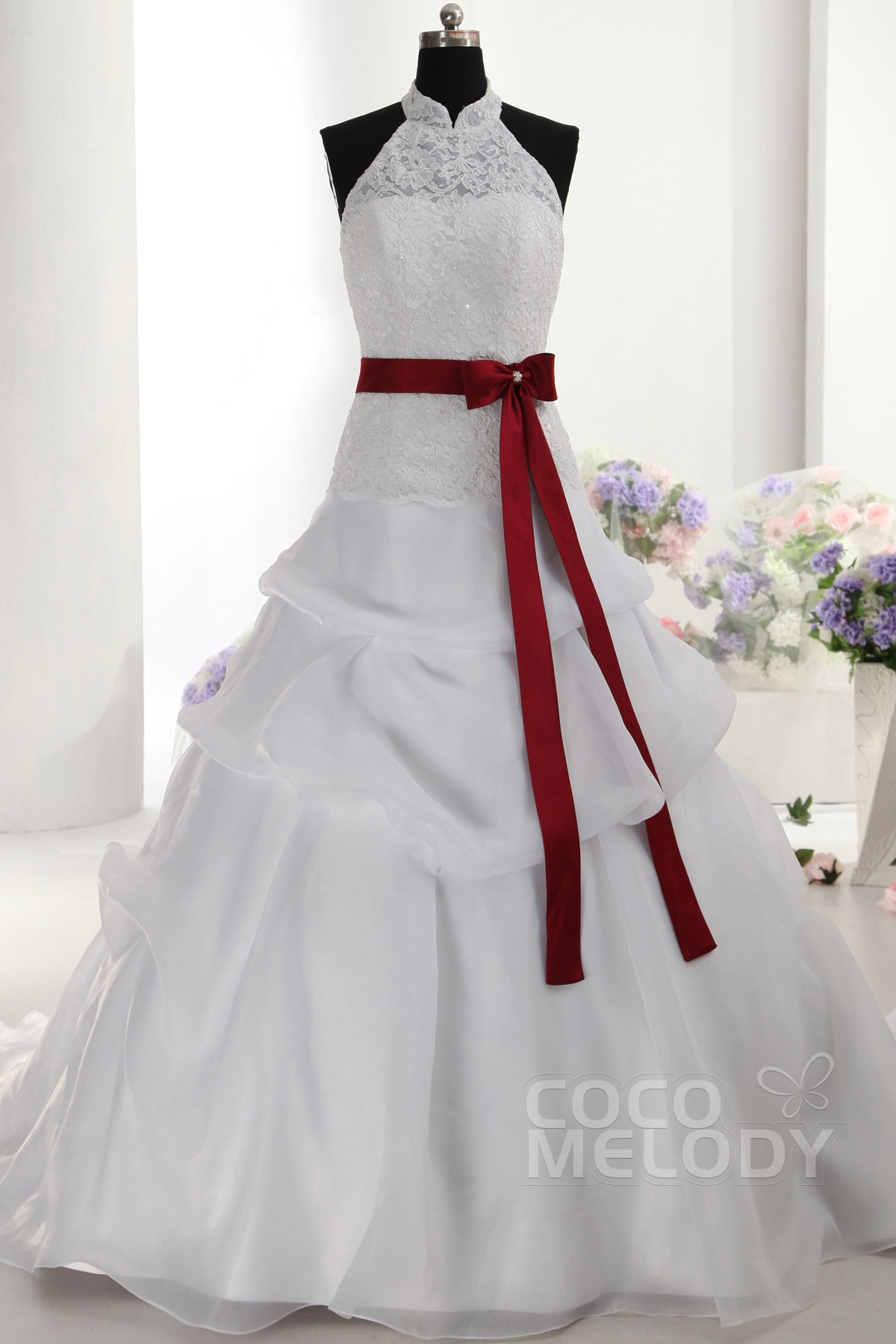 Chic A-Line High Neck Natural Train Organza Sleeveless Lace Up-Corset Wedding Dress with Pick-Ups CWLT14052
