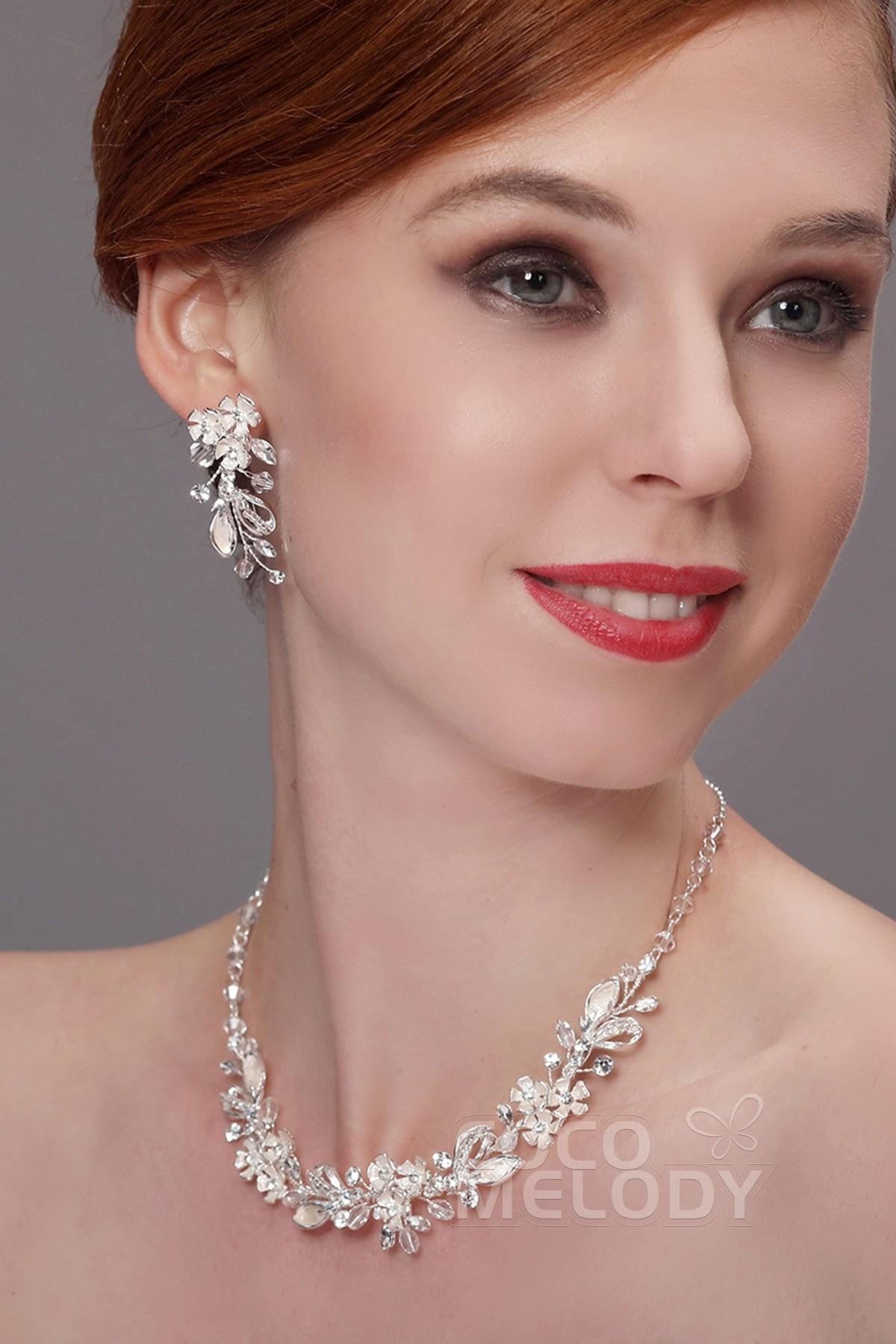 Impressive Silver Cloud Zircon Wedding Necklace and Earrings Jewelry ...
