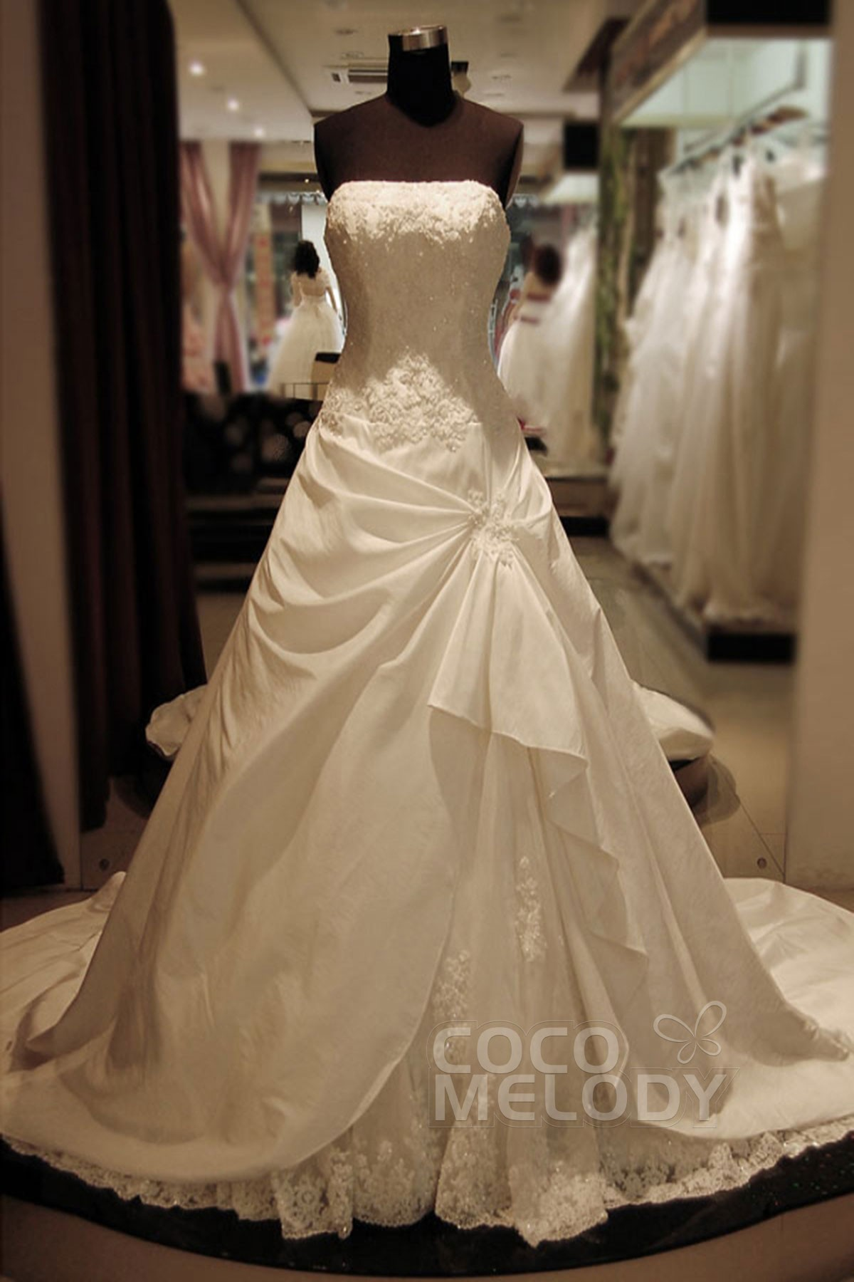 Cocomelody: A-Line Strapless Dropped Cathedral Train Taffeta Wedding ...