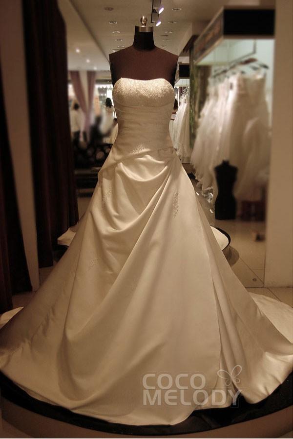 Cocomelody: A-Line Sweetheart Chapel Train Satin Wedding Dress ...