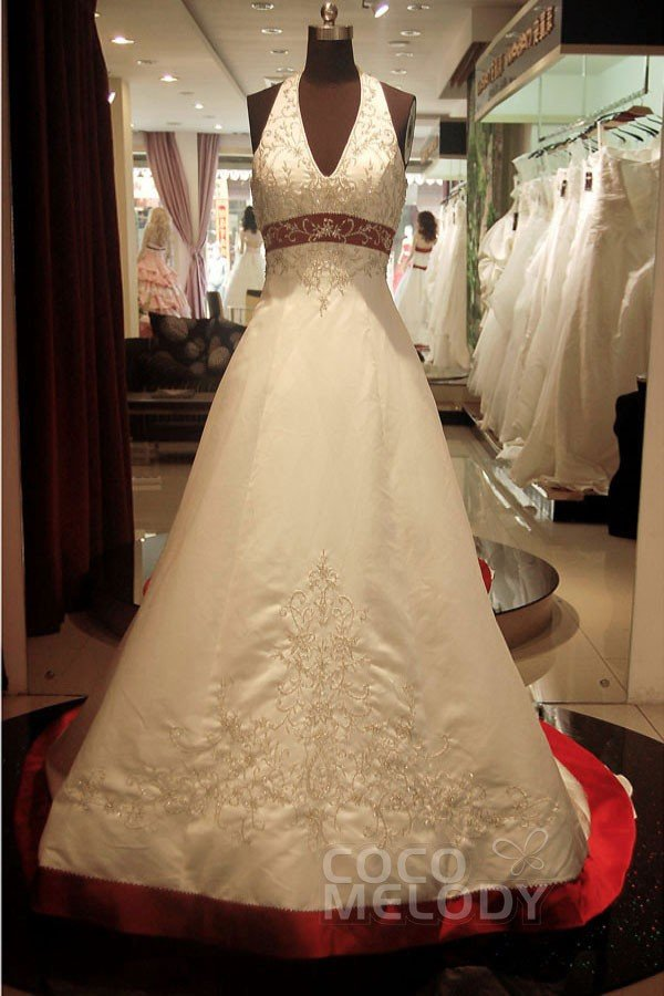 Sexy A-Line Halter Court Train Satin Ivory Sleeveless Zipper With Buttons Wedding Dress with Beading KT2013