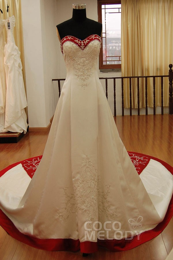 New_Arrival A-Line Sweetheart Natural Cathedral Train Satin Ivory Sleeveless Lace Up-Corset Wedding Dress with Embroidery KT2014