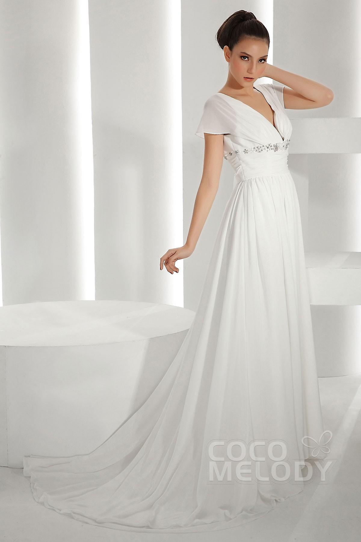 Pretty Sheath-Column V-Neck Court Train Chiffon Wedding Dress CWLT130A6