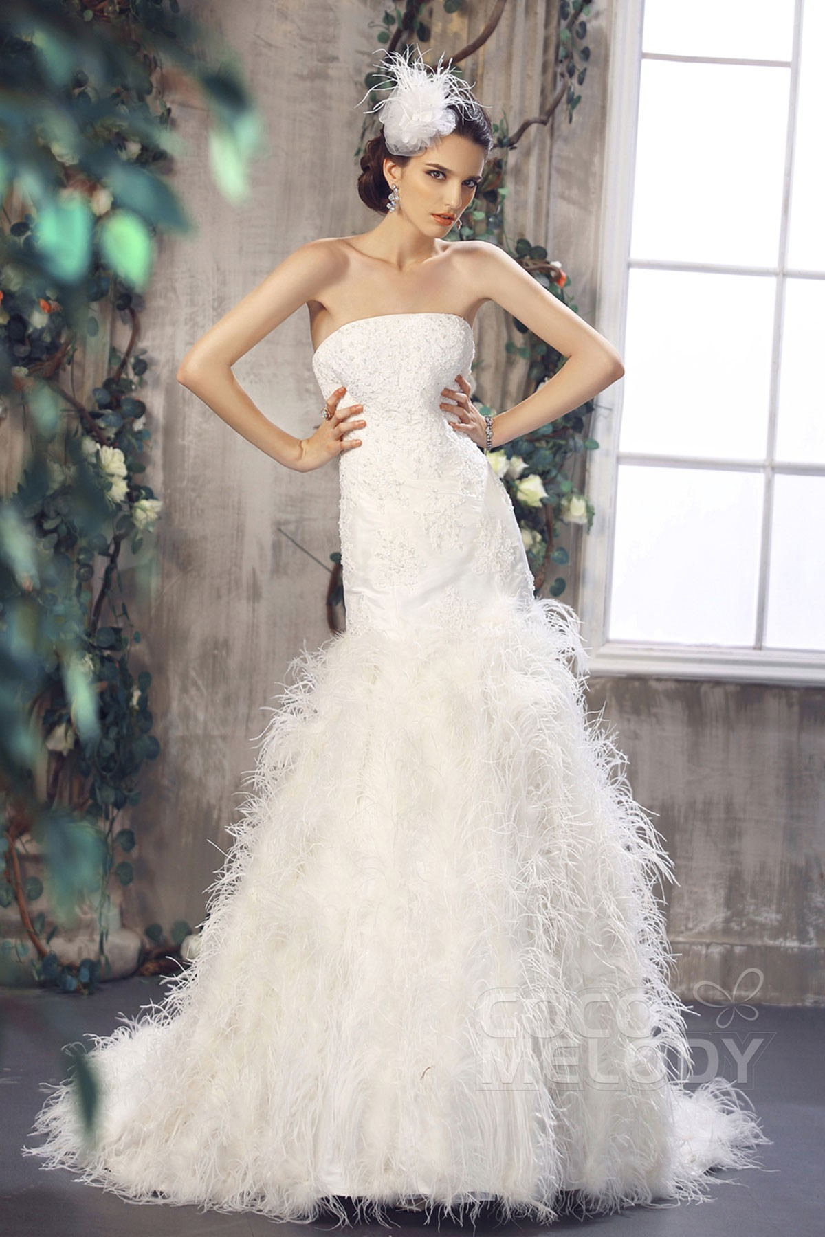 Cocomelody trumpet mermaid dropped court train wedding for Wedding dresses beaumont tx