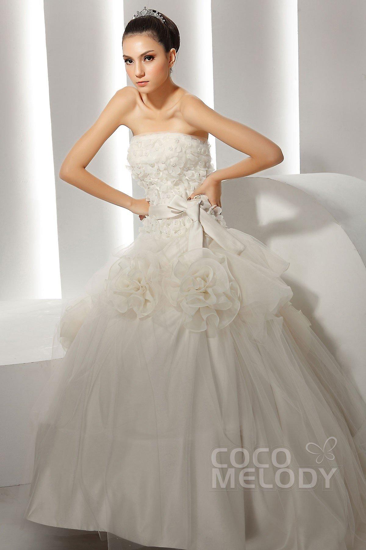 Glorious Ball Gown Strapless Chapel Train Organza Wedding Dress CWZT1301C