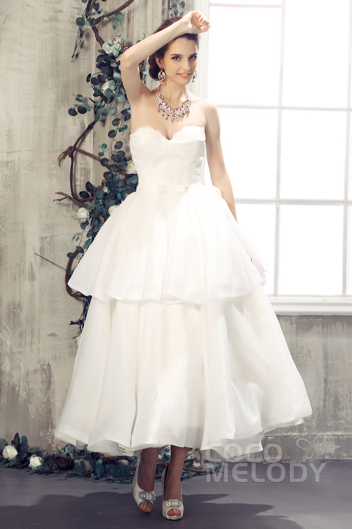 A line sweetheart ankle length organza wedding dress for Wedding dresses ankle length