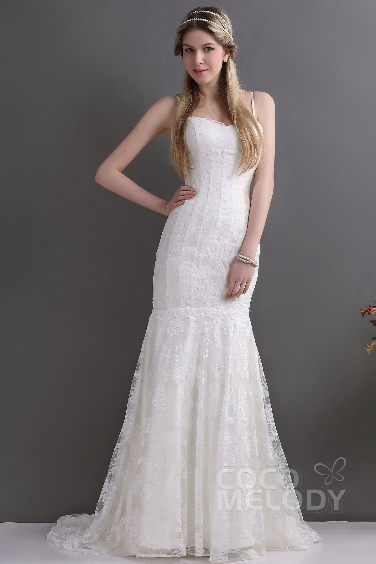 Trumpet mermaid spaghetti strap train lace wedding dress for Lace wedding dress with straps