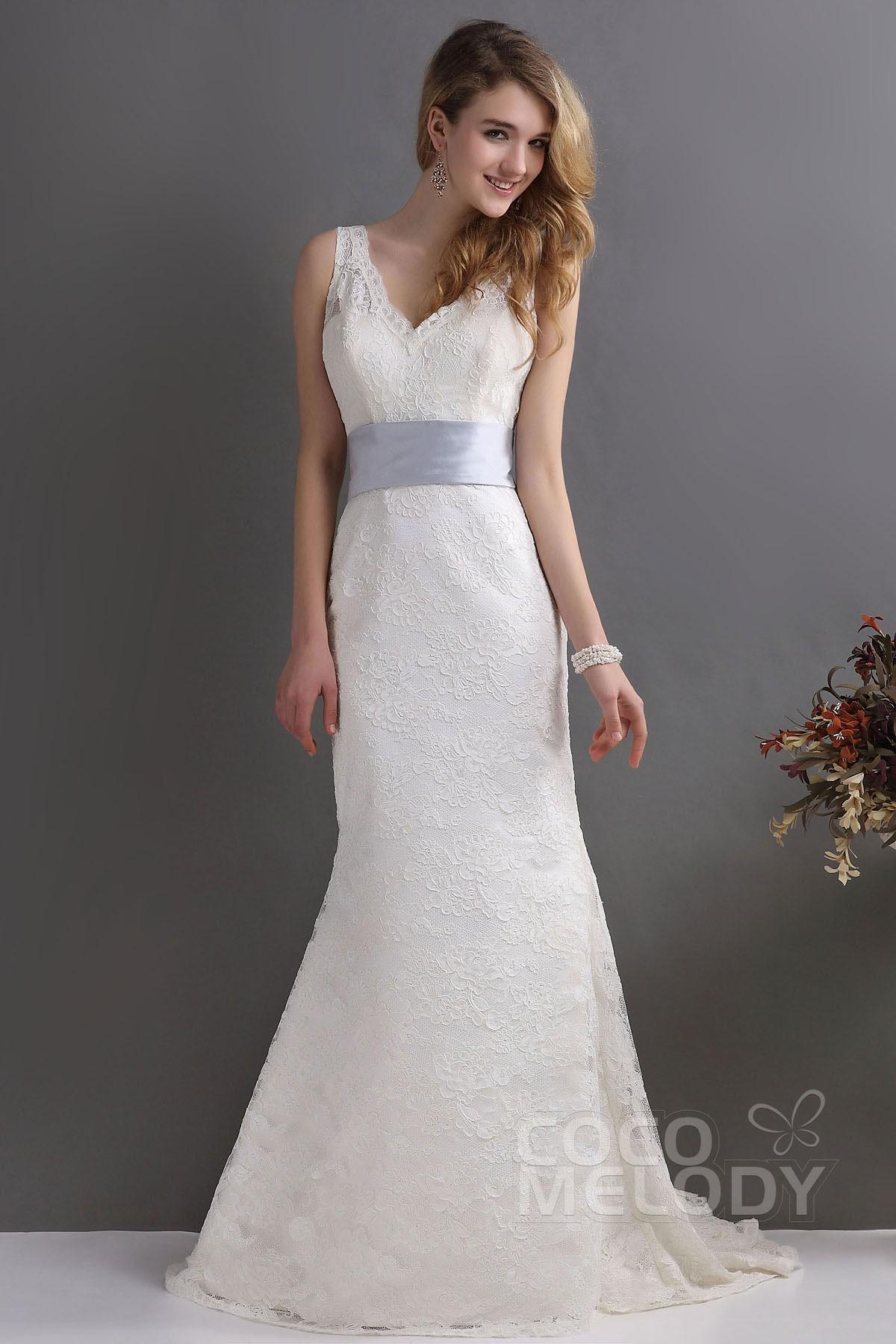 Modern Trumpet-Mermaid V-Neck Sweep-Brush Train Lace Wedding Dress CWLT130F9