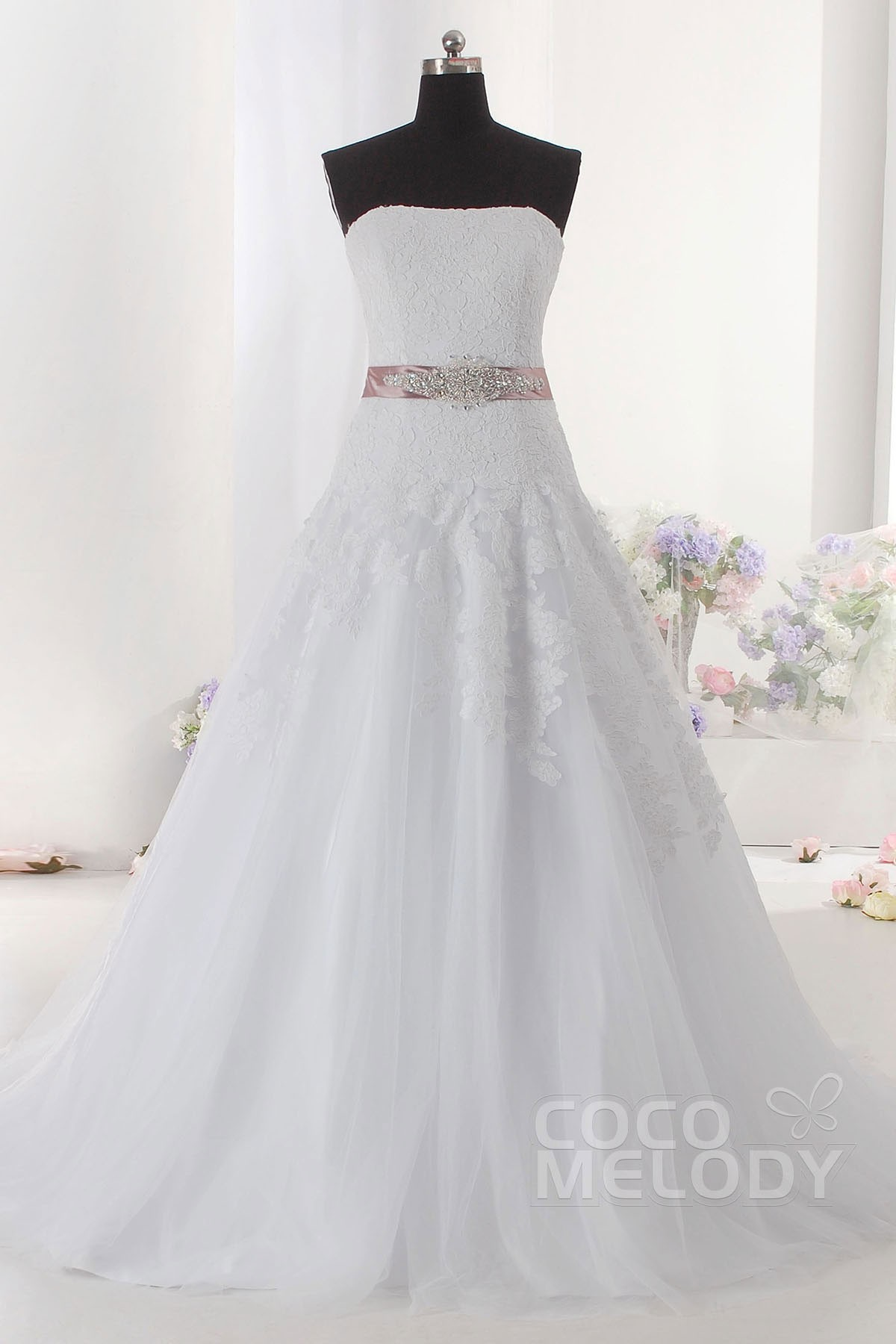 Divine A Line Strapless Train Tulle Sleeveless Lace Up Corset Wedding Dress With Sashes And Appliques CWLT14059
