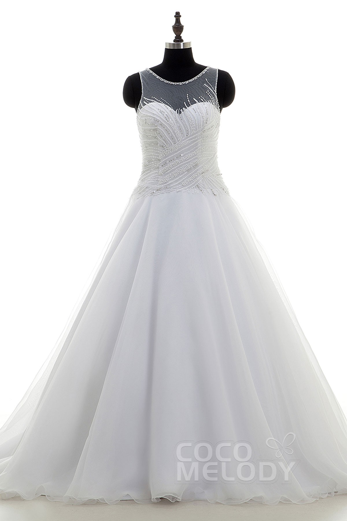 Image For Chic A-Line Illusion Court Train Organza Ivory Sleeveless Wedding Dress Beading