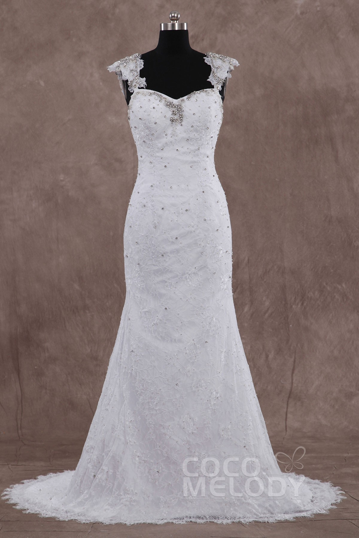 New Design Sheath Column Straps Train Lace Sleeveless Backless Wedding Dress With Crystal LD3335