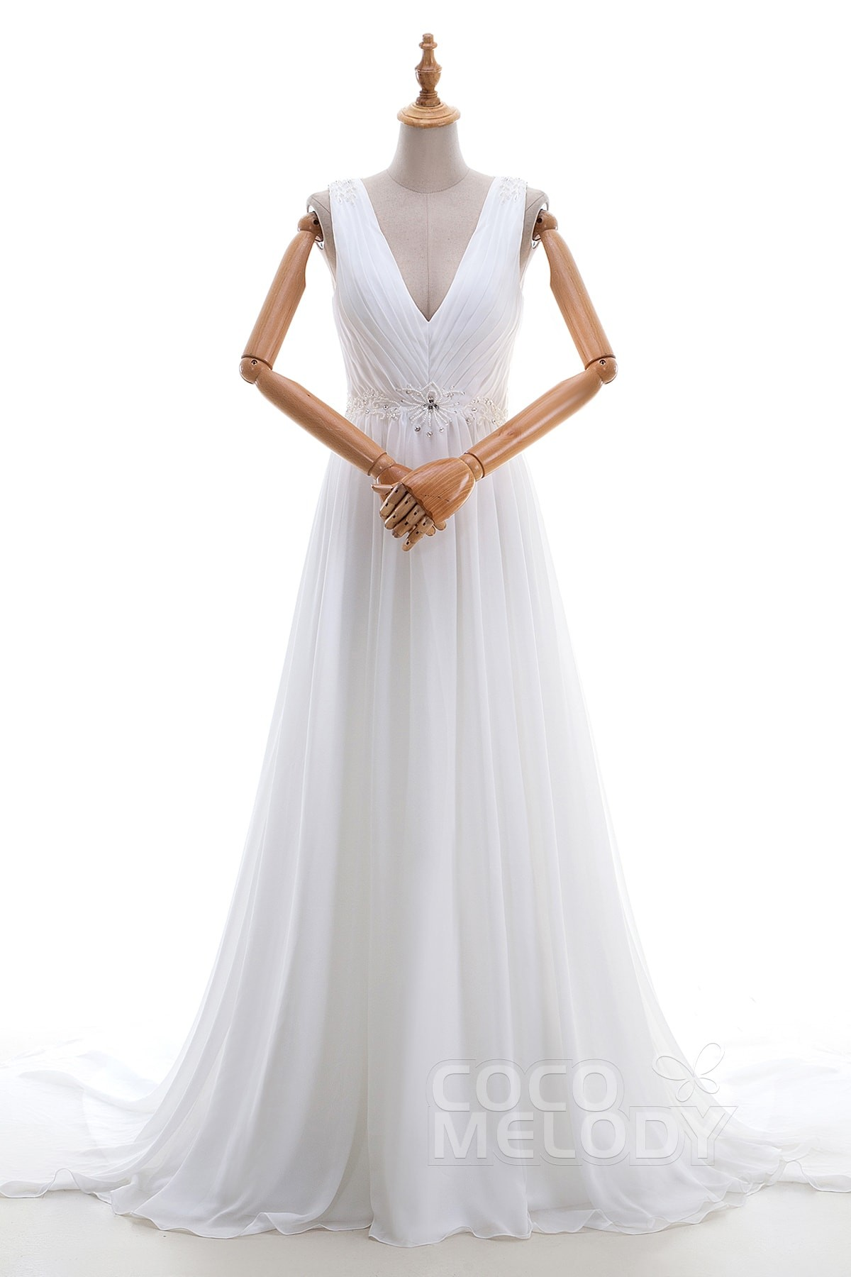 V neck chiffon wedding dress with beading for Sheath wedding dress with beading and side drape