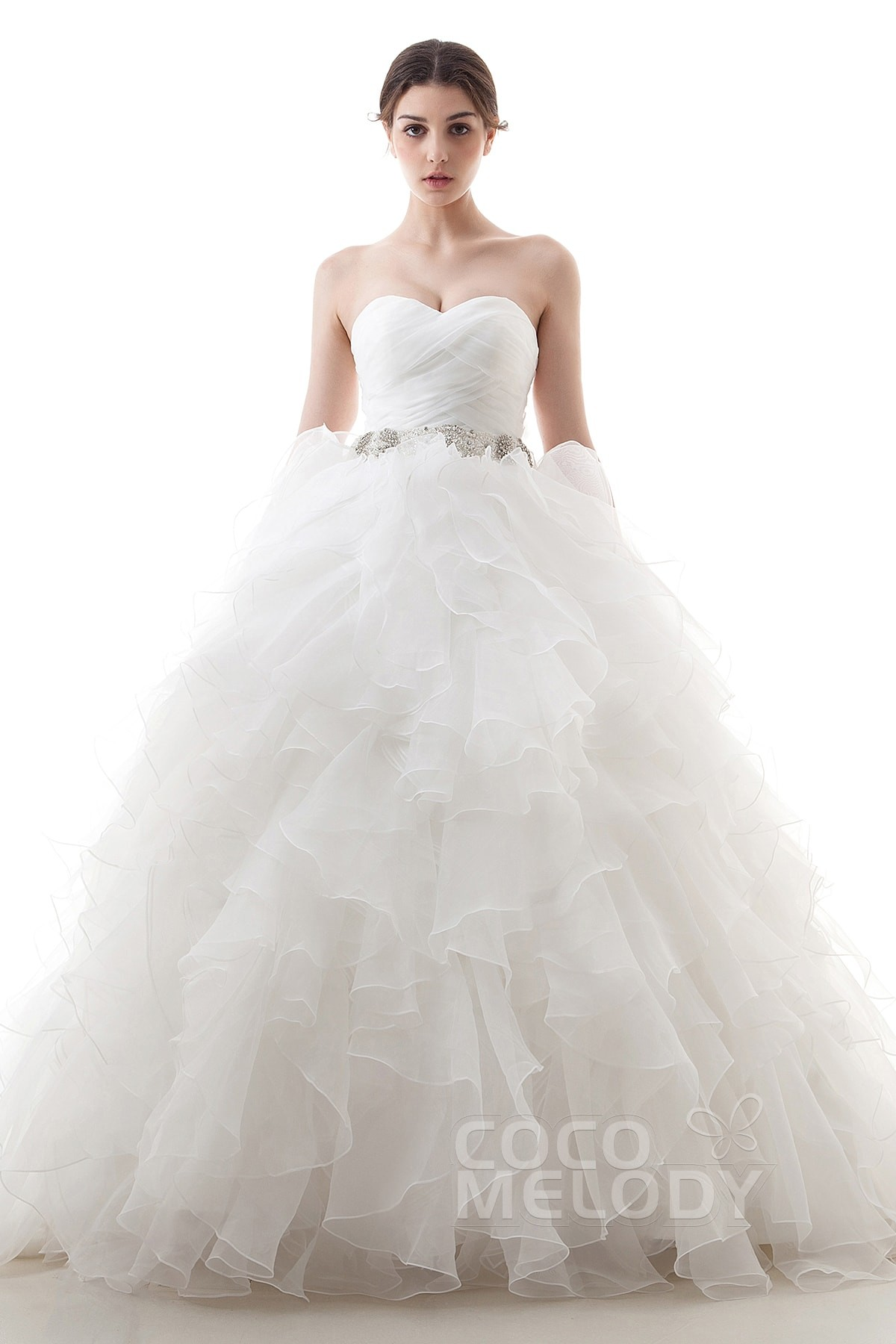 cocomelody ball gown sweetheart train organza wedding