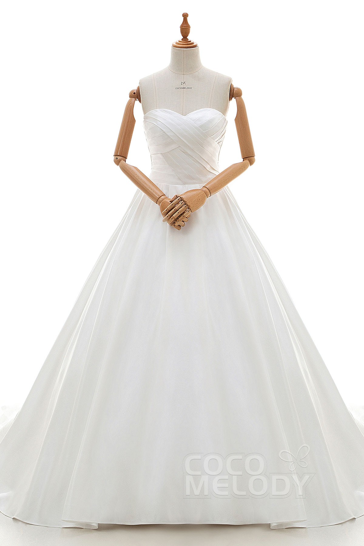 Fancy A-Line Sweetheart Natural Chapel Train Satin Ivory Sleeveless Zipper With Buttons Wedding Dress with Bowknot and Pleating ld4191