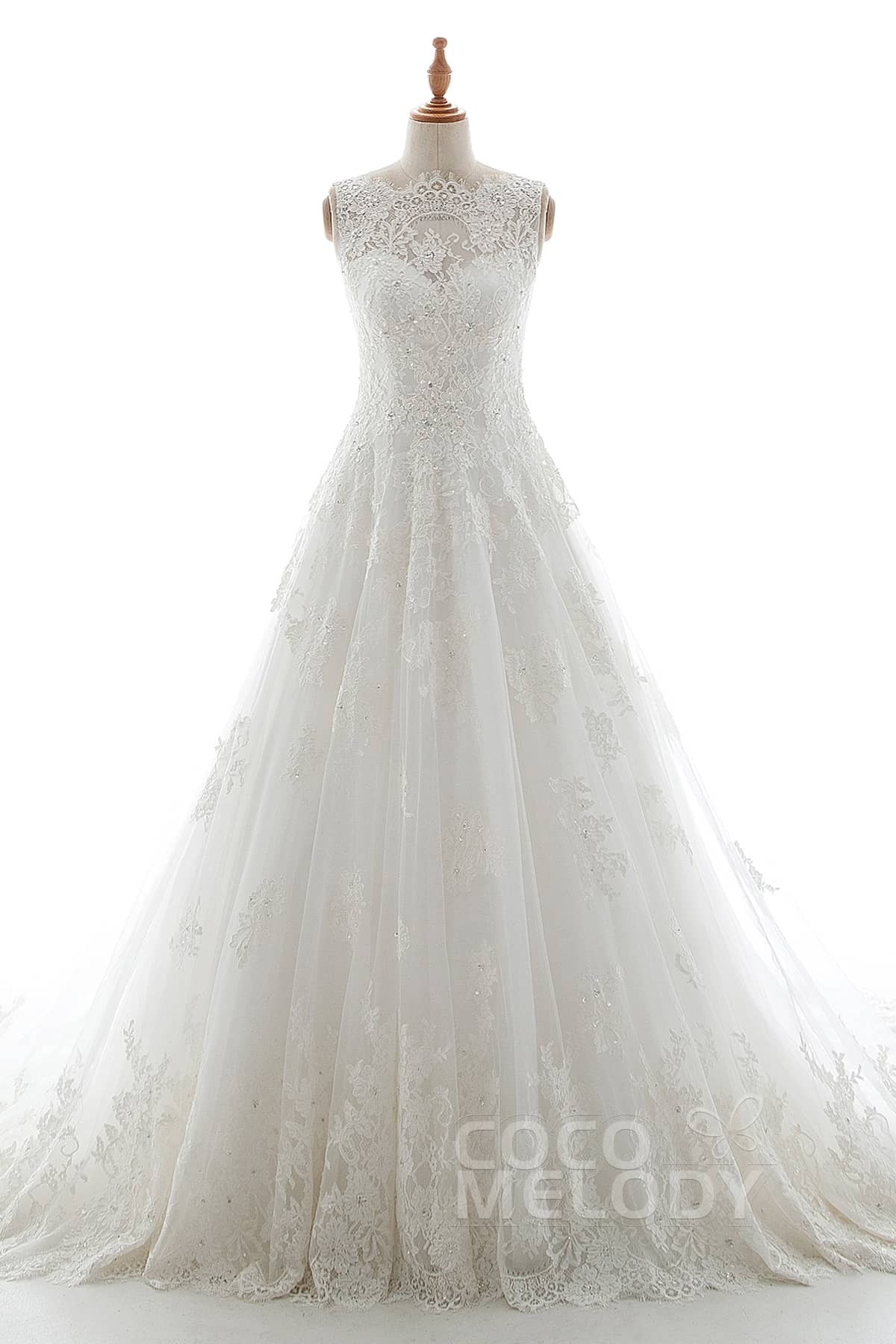 Cocomelody a line court train tulle and elastic satin wedding dress a line court train tulle lace organza and elastic satin wedding dress ld5191 junglespirit Image collections