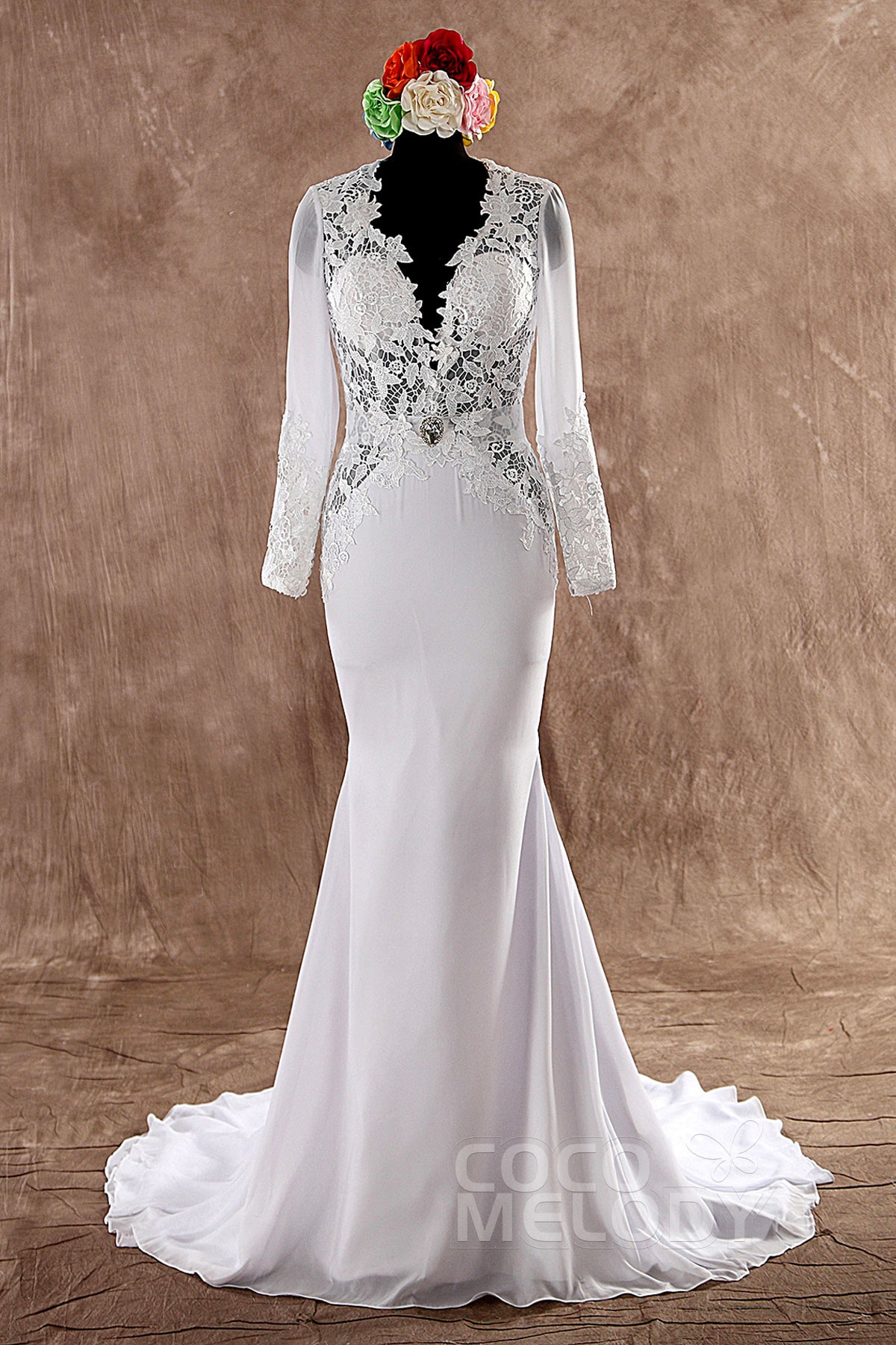 Cocomelody trumpet mermaid v neck court train chiffon for Trumpet wedding dress with long train