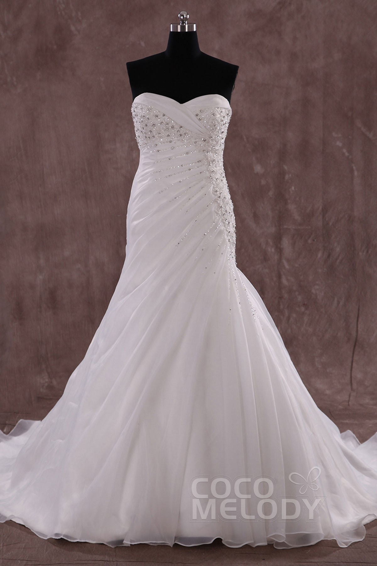 Glamour Trumpet-Mermaid Sweetheart Train Organza Ivory Sleeveless Wedding Dress with Beading and Crystal LWLT14062