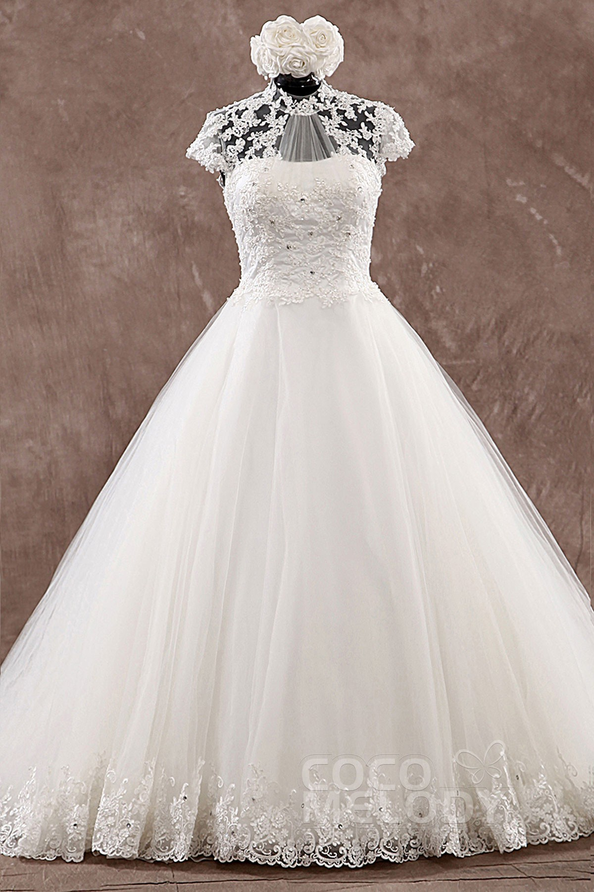 Sexy A-Line High Neck Natural Court Train Tulle Ivory Cap Sleeve Open Back Wedding Dress with Appliques LWLT14086
