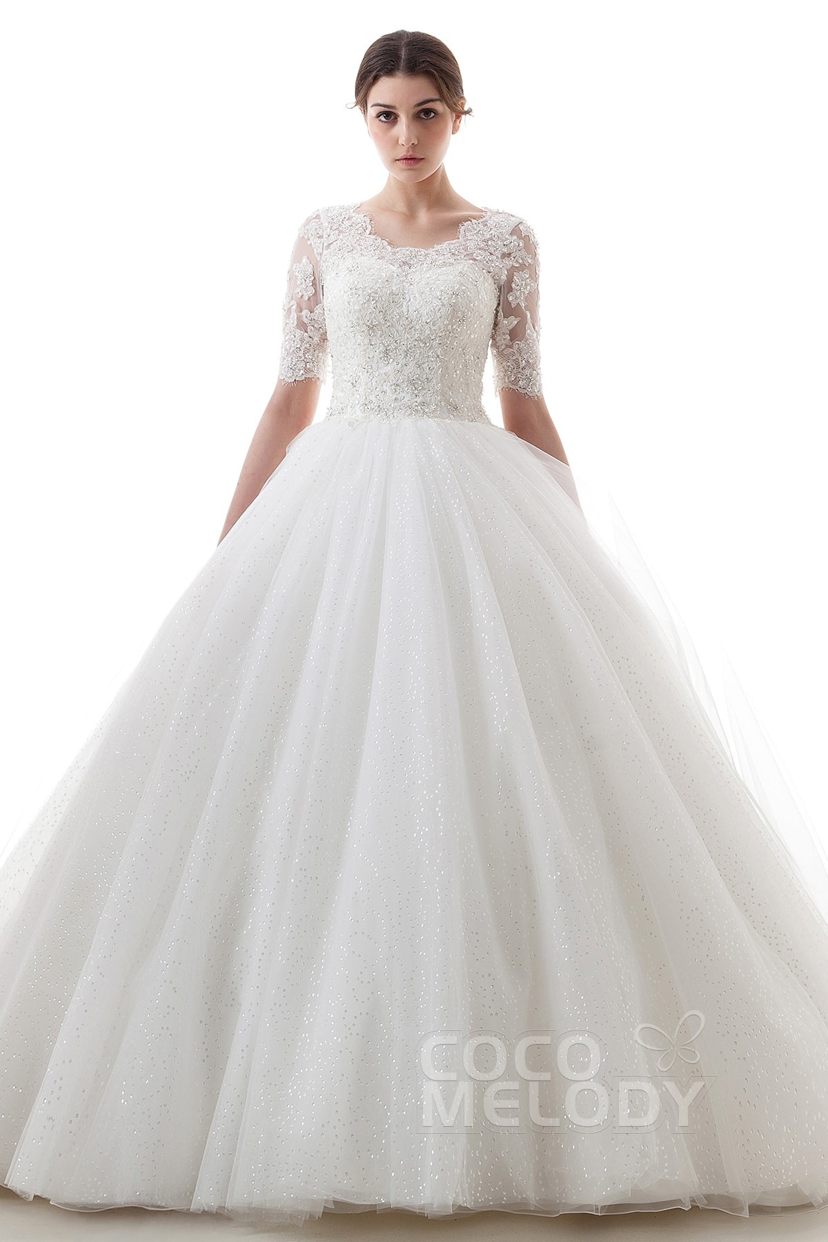 Cocomelody a line scoop train tulle half sleeve wedding for Wedding dresses with half sleeves