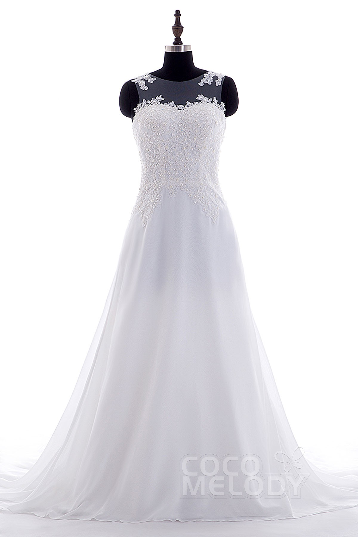 Fashion A-Line Illusion Court Train Chiffon White Sleeveless Wedding Dress Appliques LWST15003