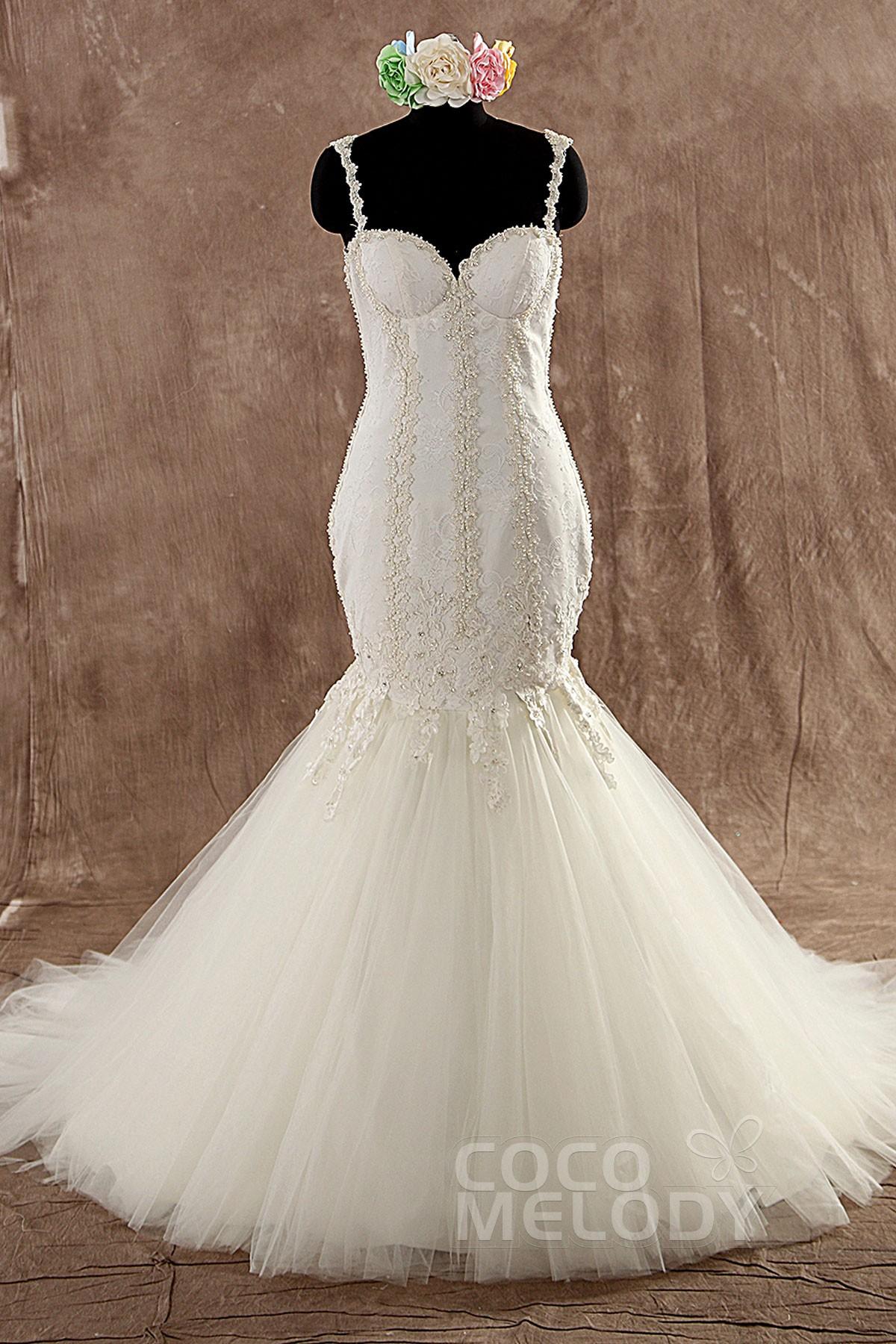 Chic Trumpet-Mermaid Spaghetti Strap Train Tulle Ivory Sleeveless Wedding Dress with Appliques LWVT1402B