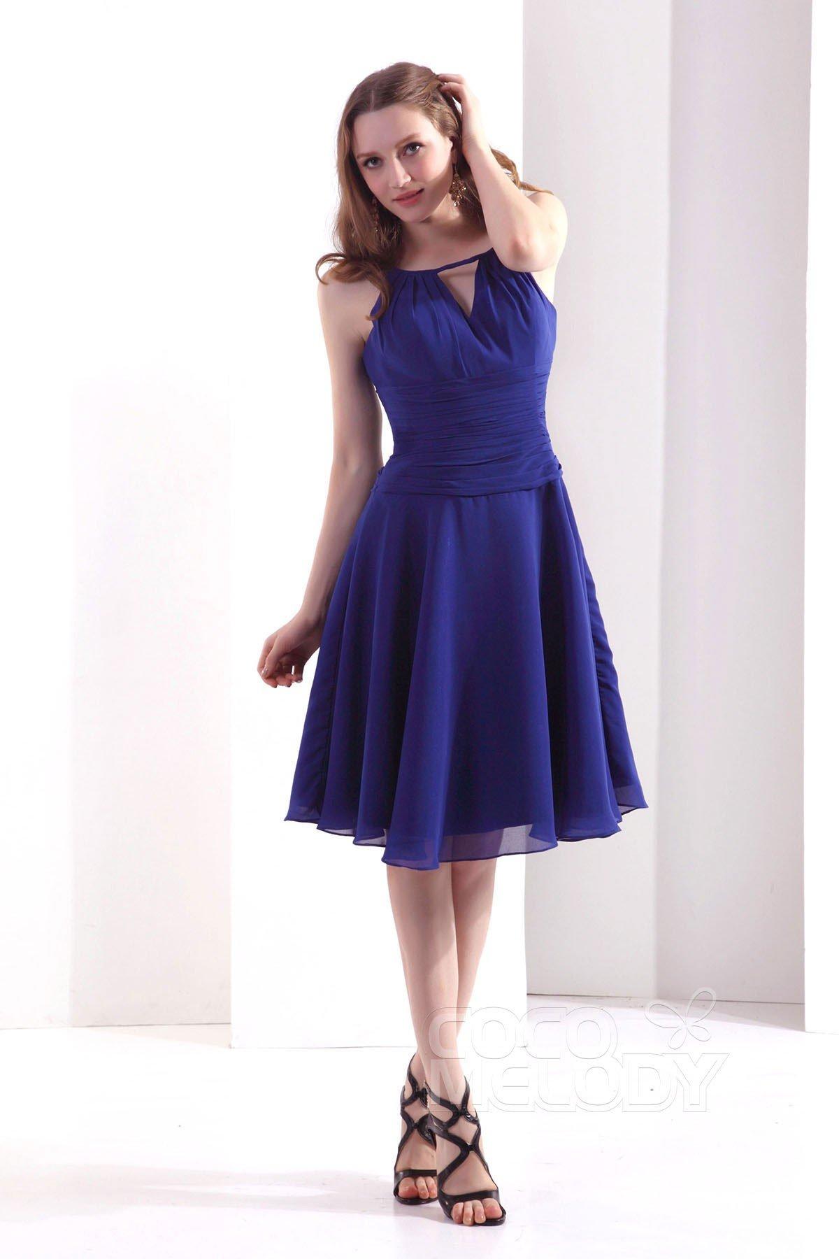 Simple A Line Spaghetti Strap Knee Length Chiffon Sodalite Blue Bridesmaid Dress COZK13011