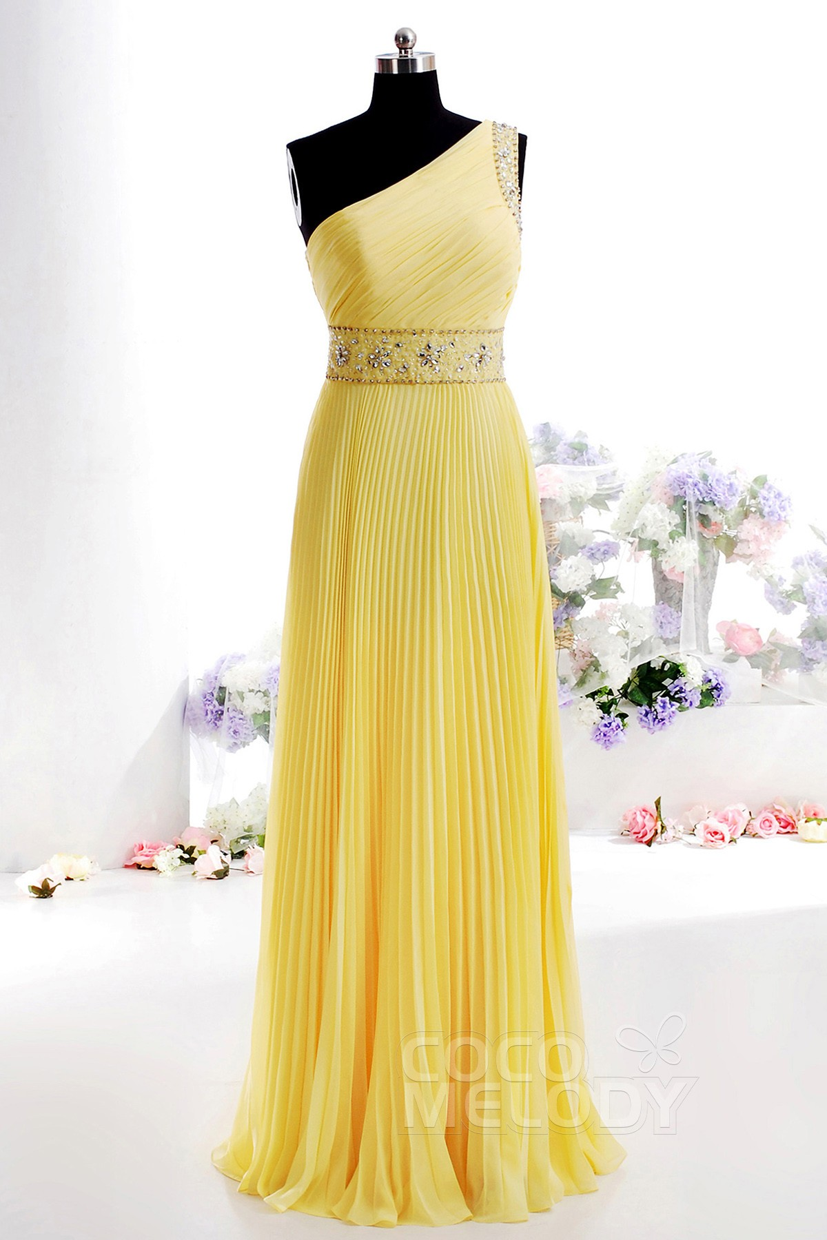 Simple Sheath-Column One shoulder Floor Length Chiffon Bridesmaid Dress with Pleating and Beading COSF14005