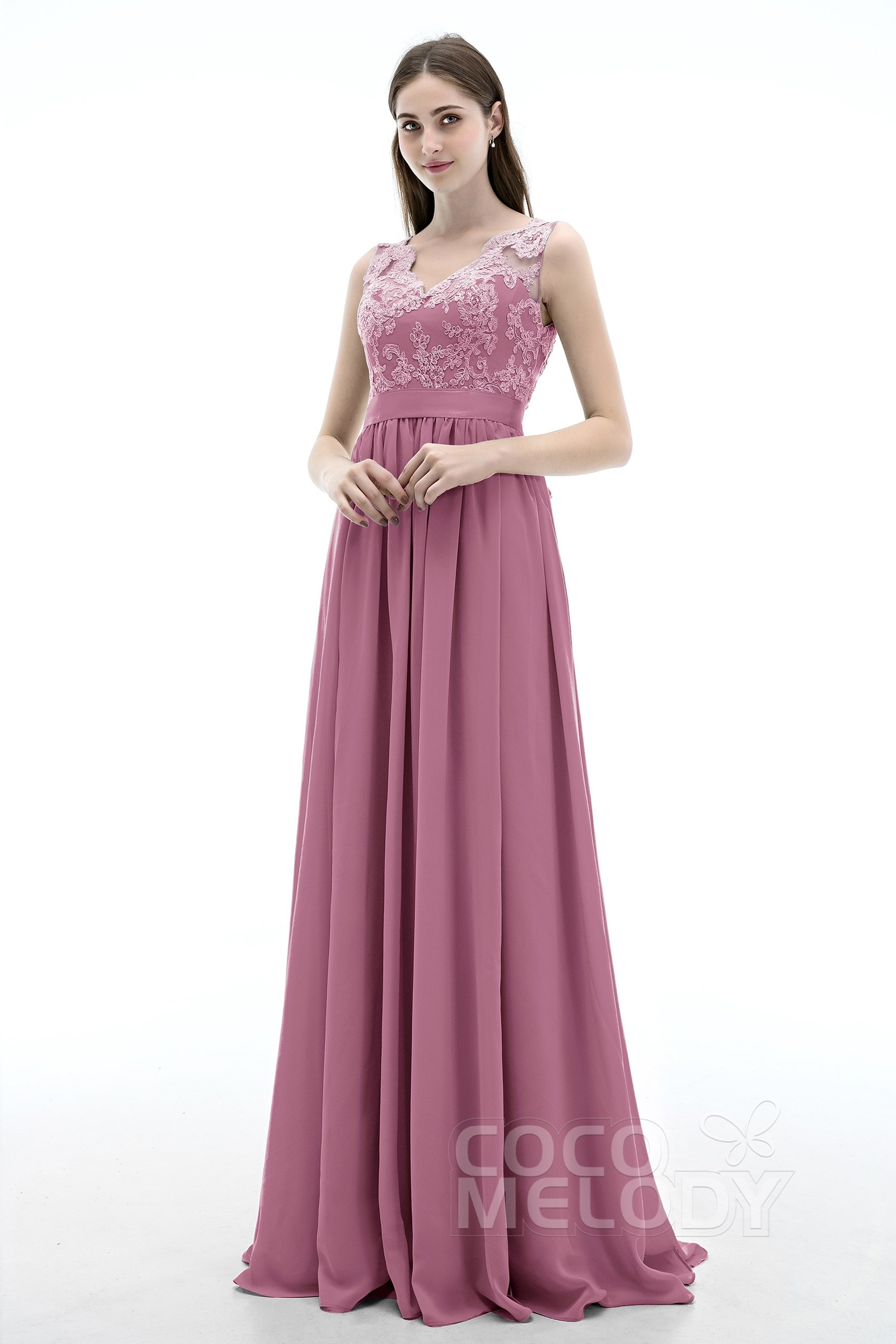 Bridesmaid dresses sale cocomelody sheath column v neck natural sweep brush train chiffon sleeveless open back bridesmaid ombrellifo Gallery