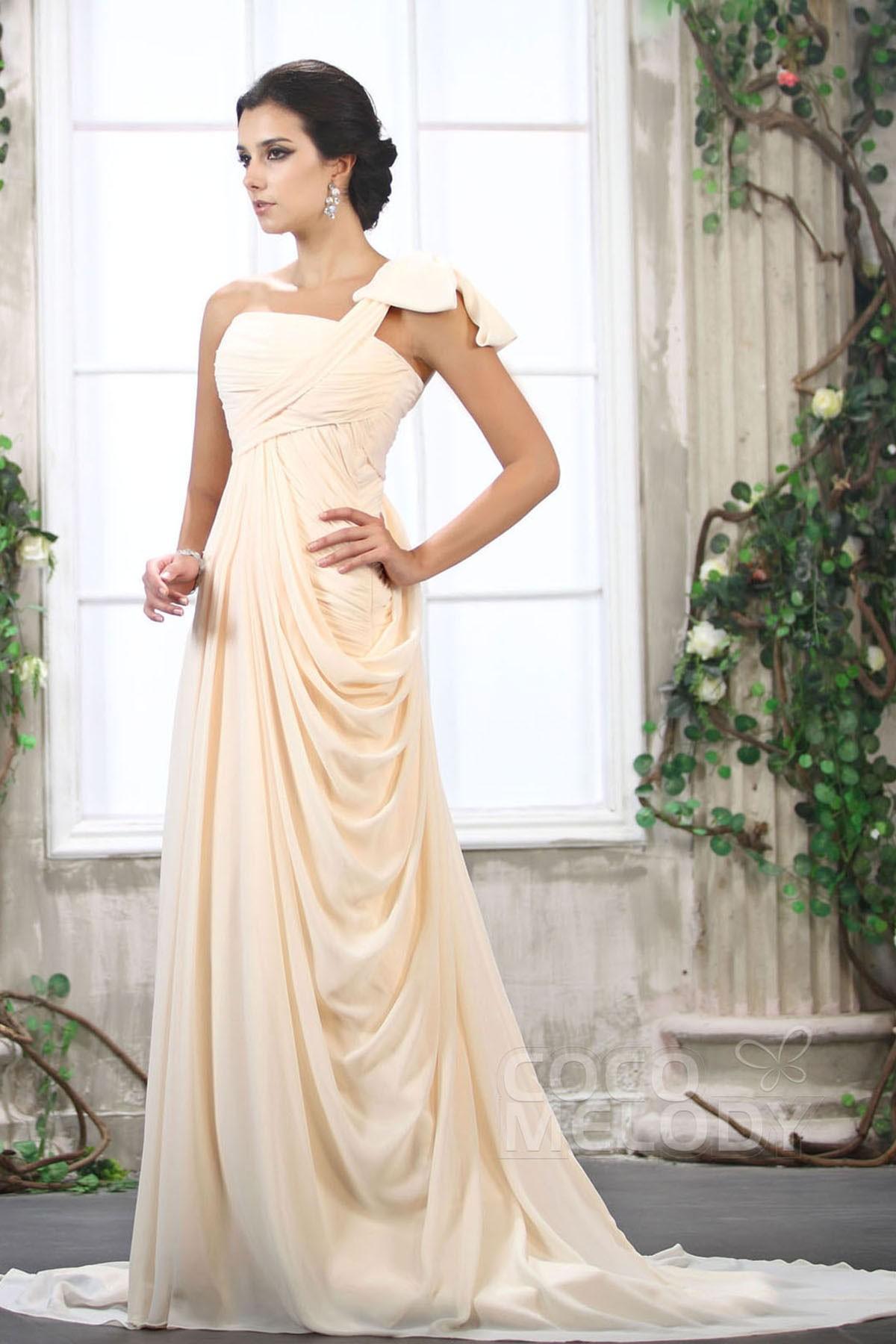 Cocomelody sheath column one shoulder court train chiffon for Wedding dress consignment denver