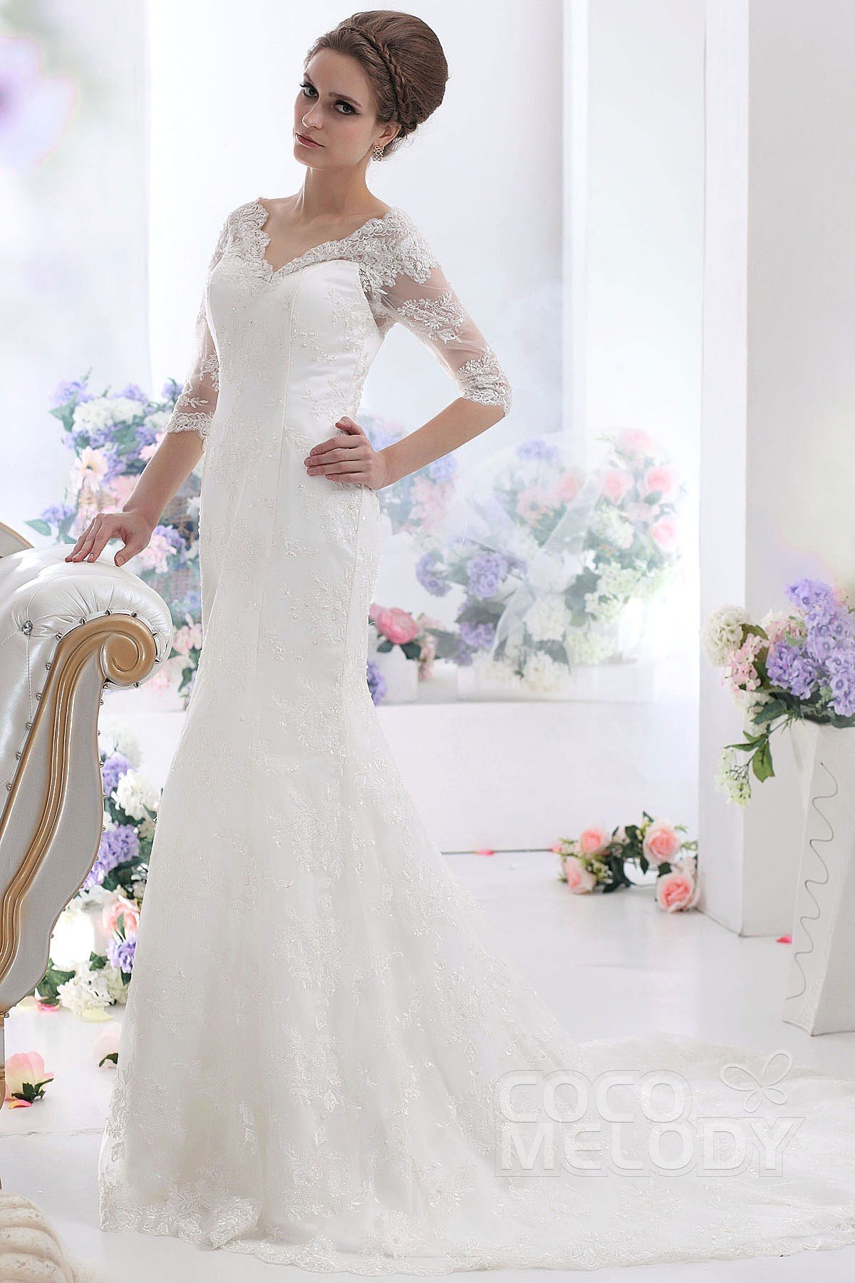 Fancy sheath column v neck half sleeve court train lace for Wedding dresses without sleeves