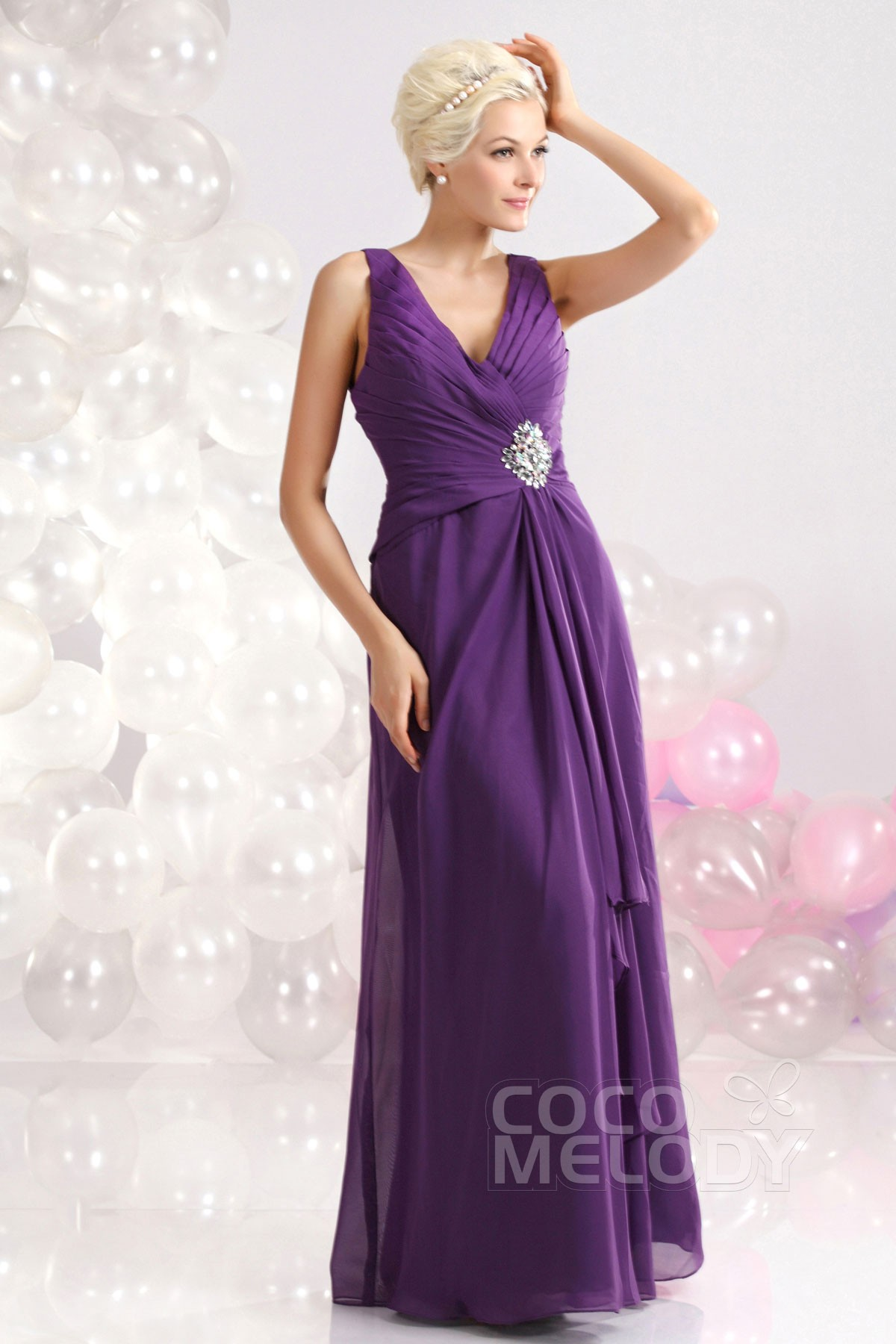 Sheath Column V Neck Floor Length Chiffon Purple Evening Dress D12018