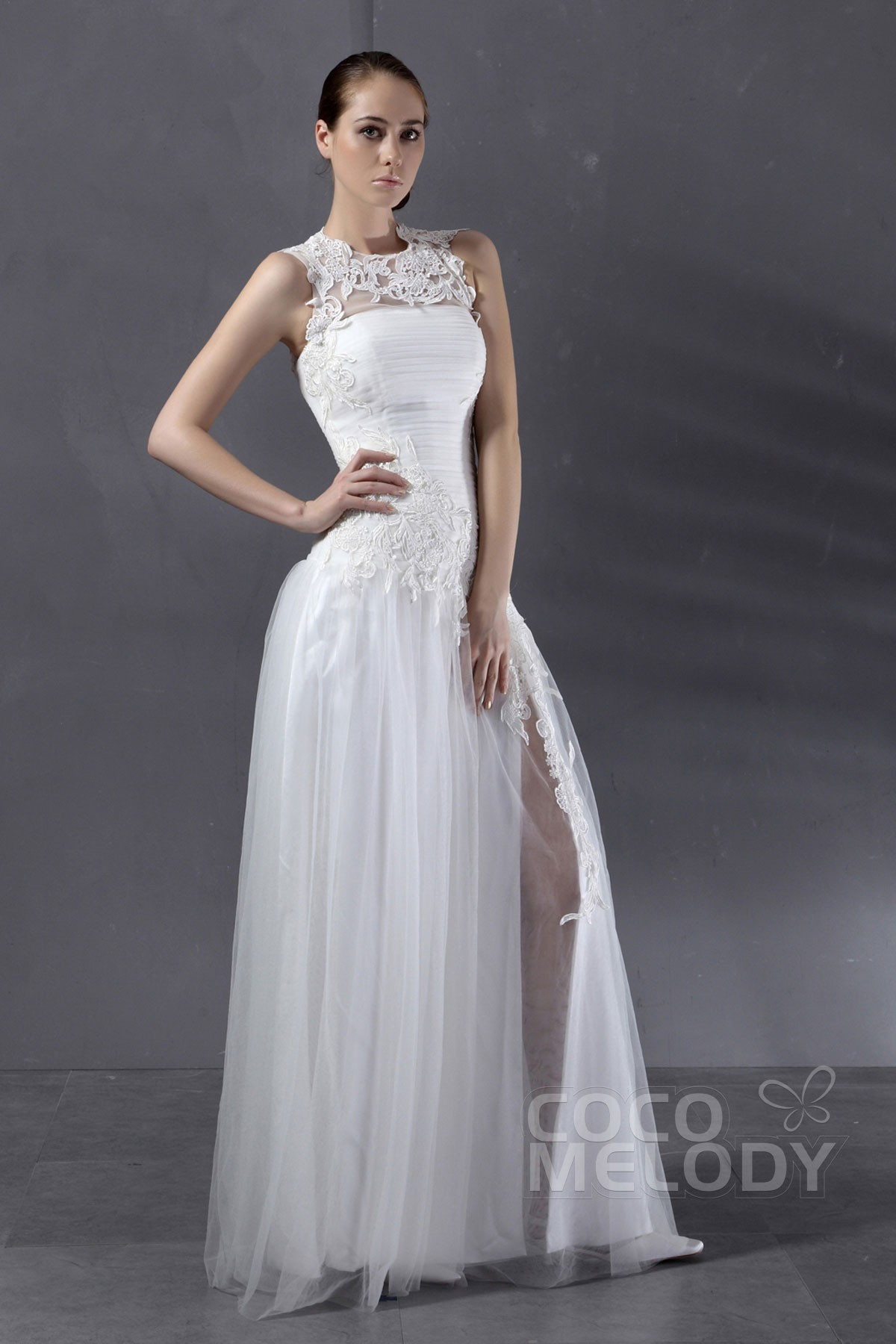simple sheath column illusion floor length tulle ivory wedding