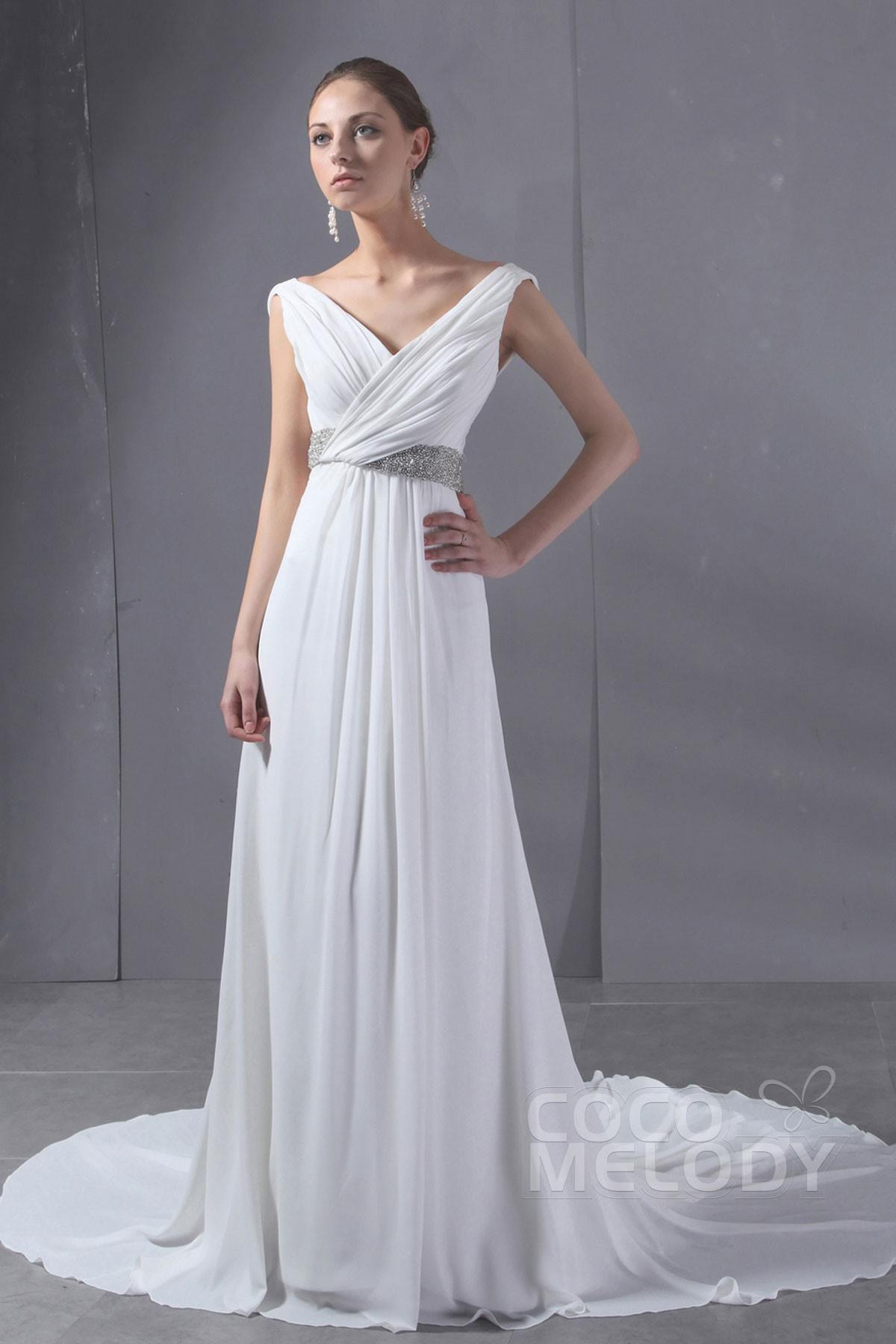 Simple Sheath Column V Neck Chapel Train Chiffon Wedding Dress CWLT130AA Good Ideas
