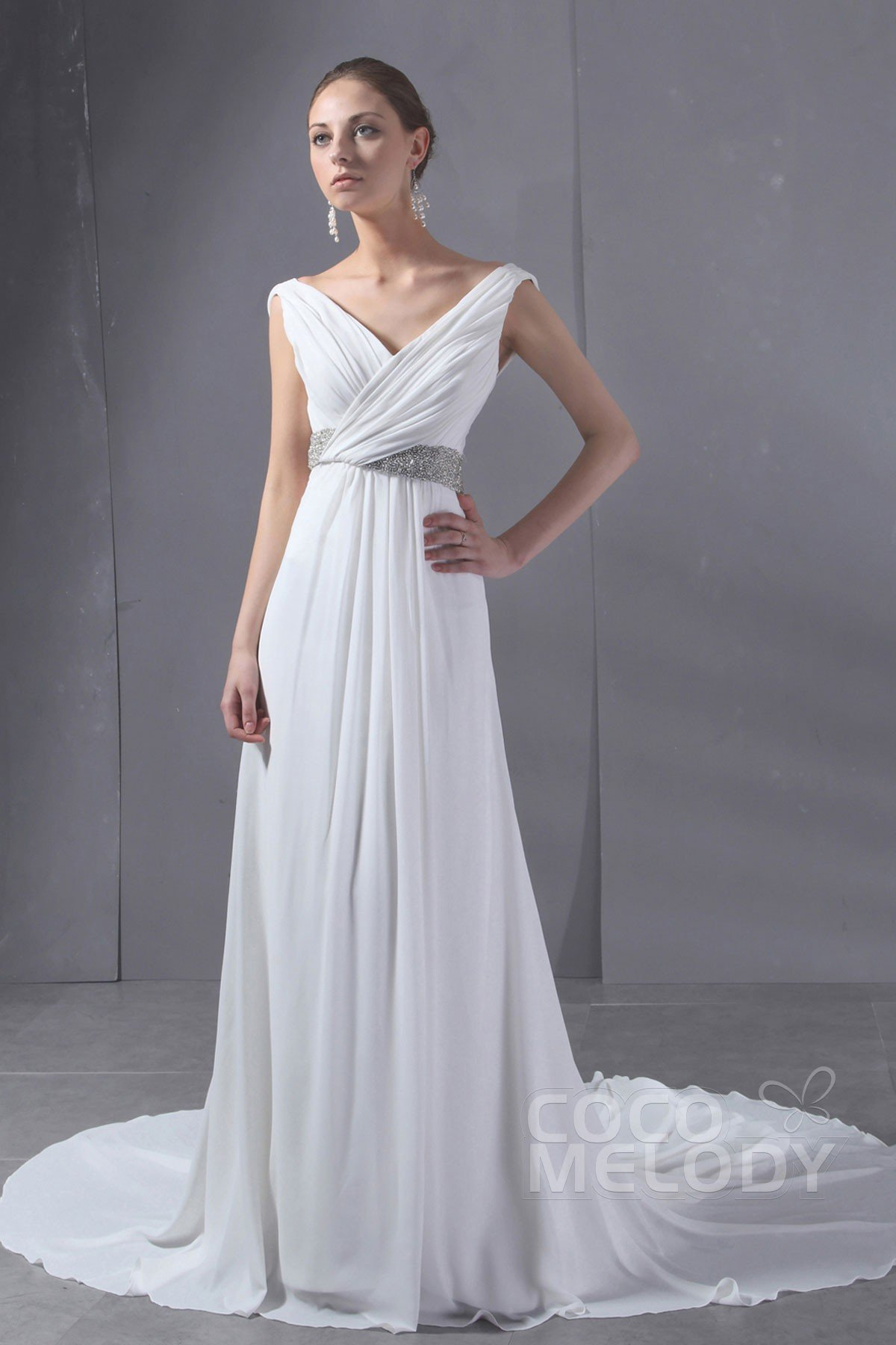 Simple Sheath Column V Neck Chapel Train Chiffon Wedding Dress Cwlt130aa