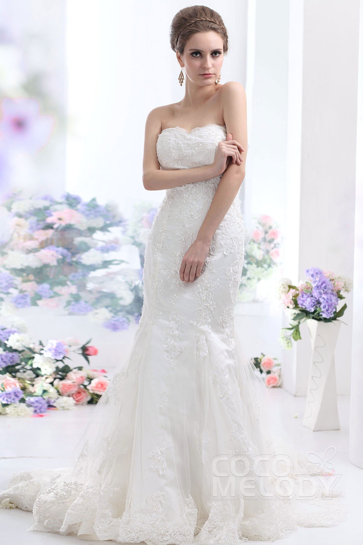 Perfect Trumpet Mermaid Sweetheart Chapel Train Tulle