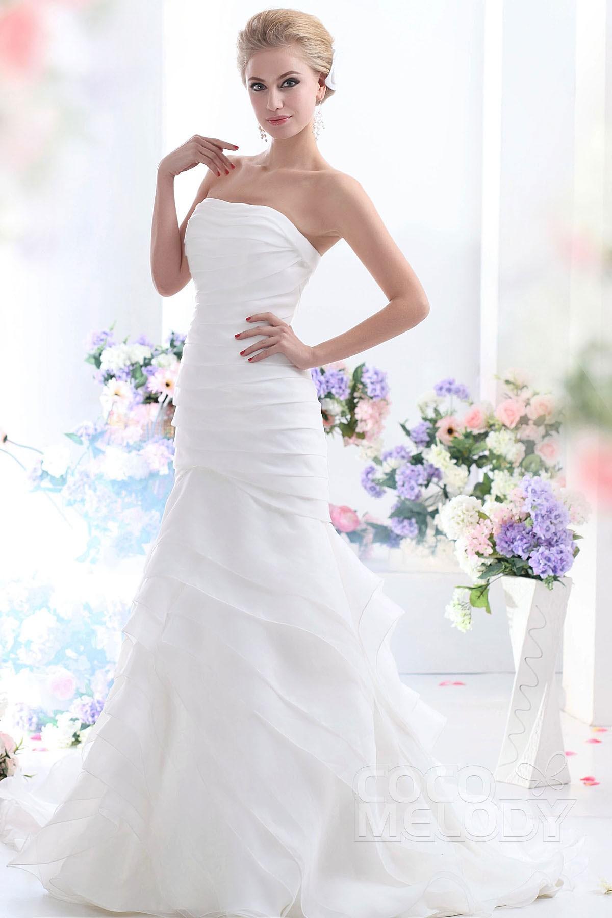 Cocomelody trumpet mermaid strapless chapel train organza for Organza trumpet wedding dress