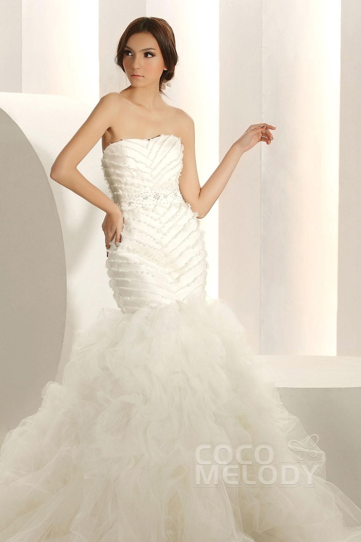 Trumpet Wedding Dress Tulle : Chic trumpet mermaid sweetheart chapel train tulle wedding