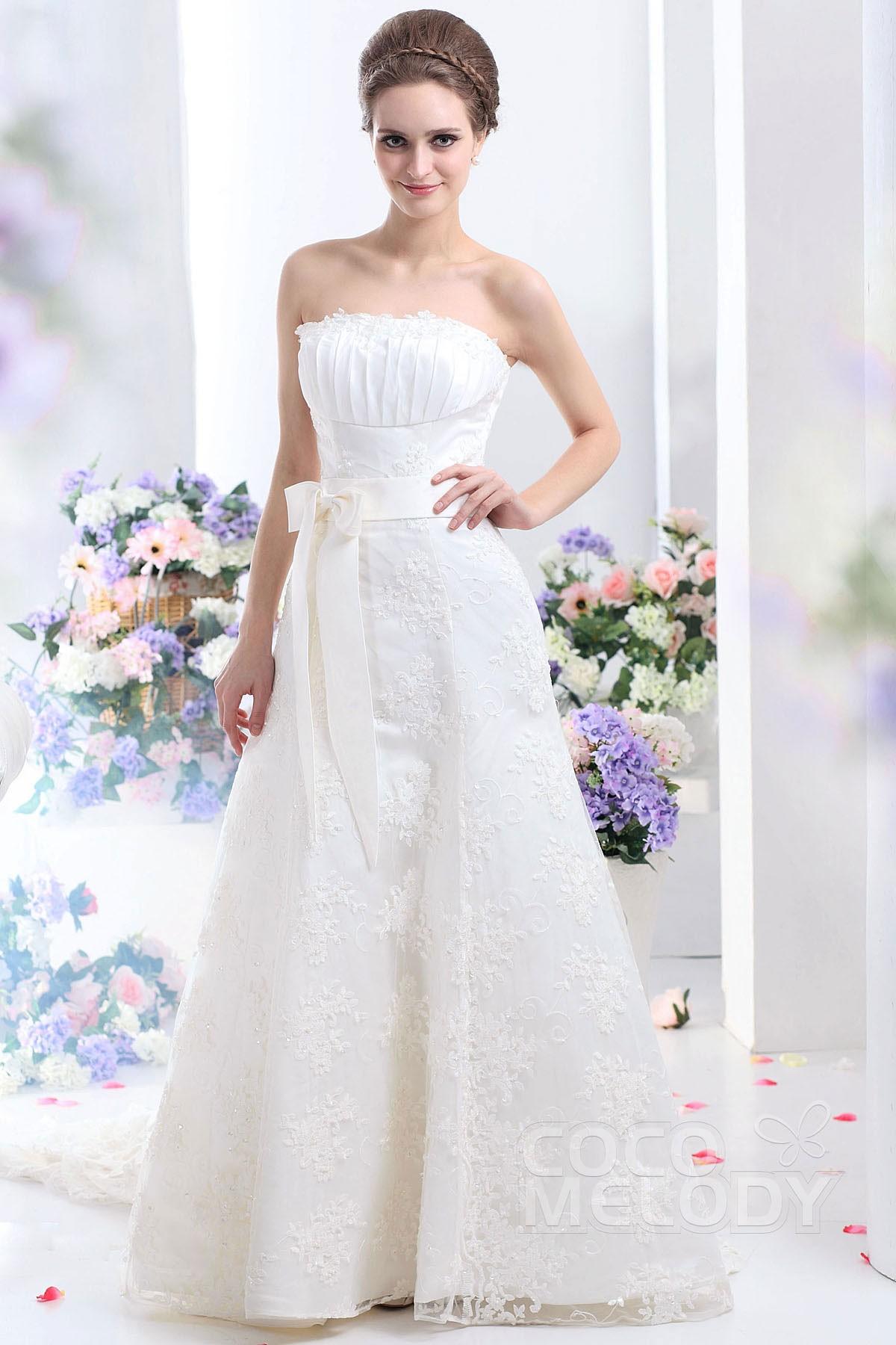 Fairy tale A Line Strapless Court Train Lace Wedding Dress
