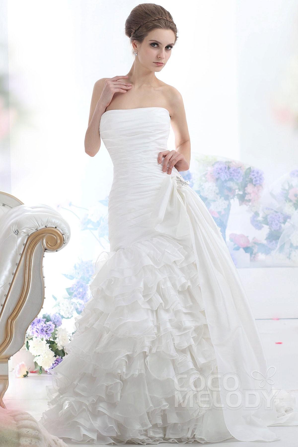 Cocomelody trumpet mermaid strapless court train organza for Organza trumpet wedding dress