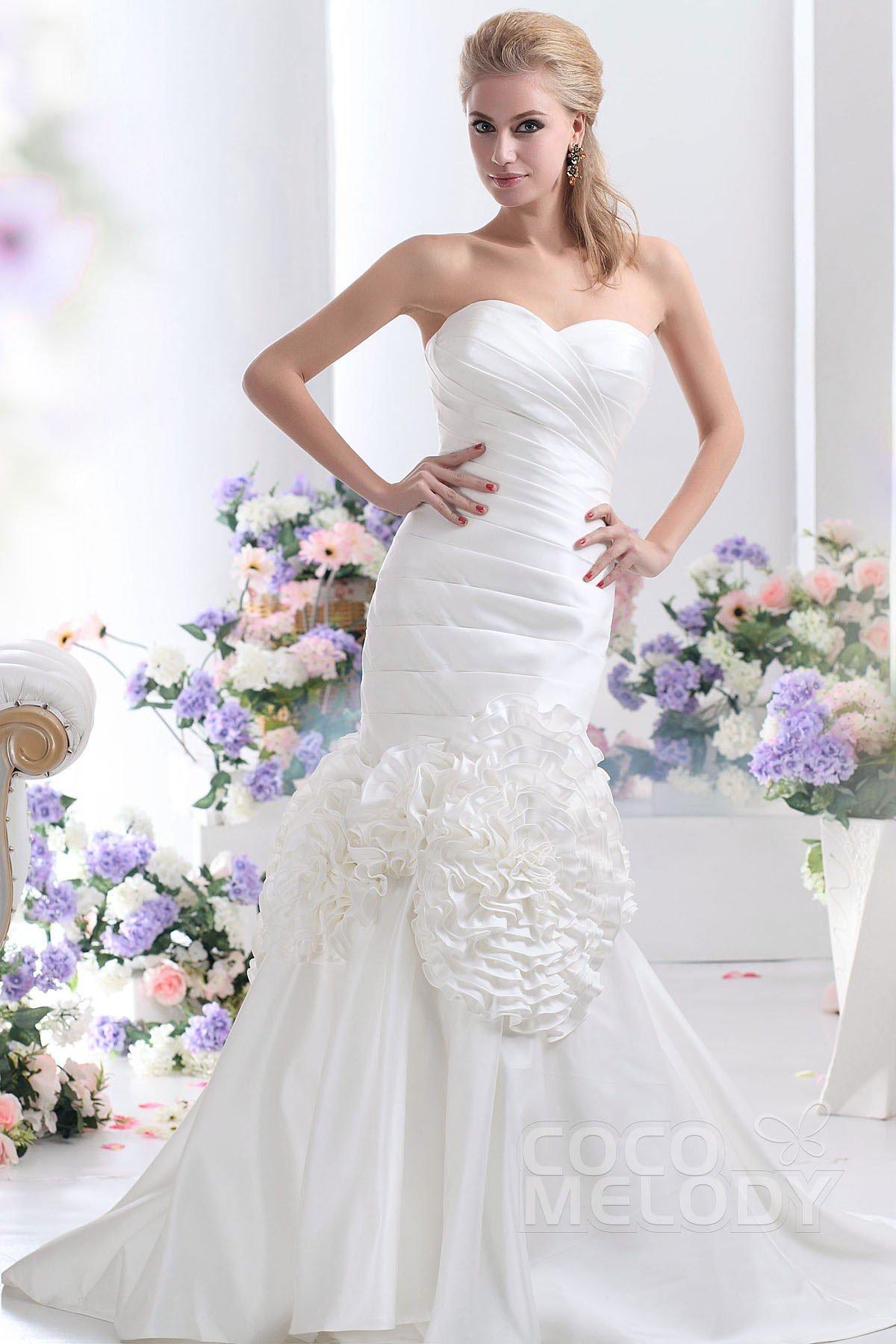 Cocomelody trumpet mermaid sweetheart court train taffeta for Taffeta mermaid wedding dress