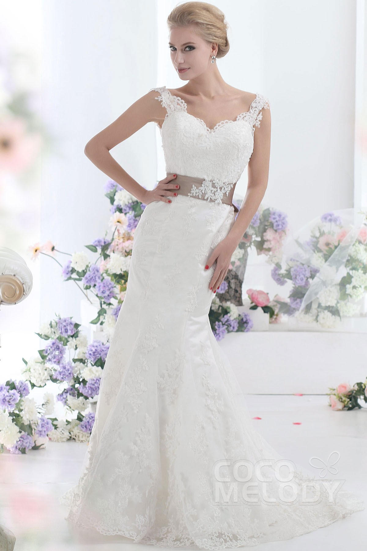 Cocomelody: Trumpet-Mermaid Sweep-Brush Train Lace Wedding Dress ...