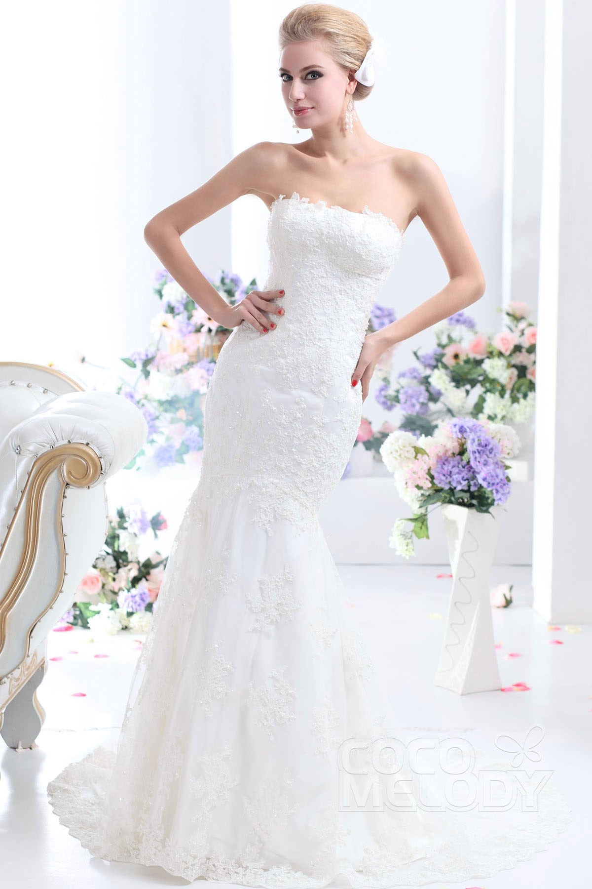 Divine Trumpet Mermaid Strapless Dropped Court Train Tulle And Lace Ivory Sleeveless Up Corset Wedding Dress With Appliques Beading CWLT130F3