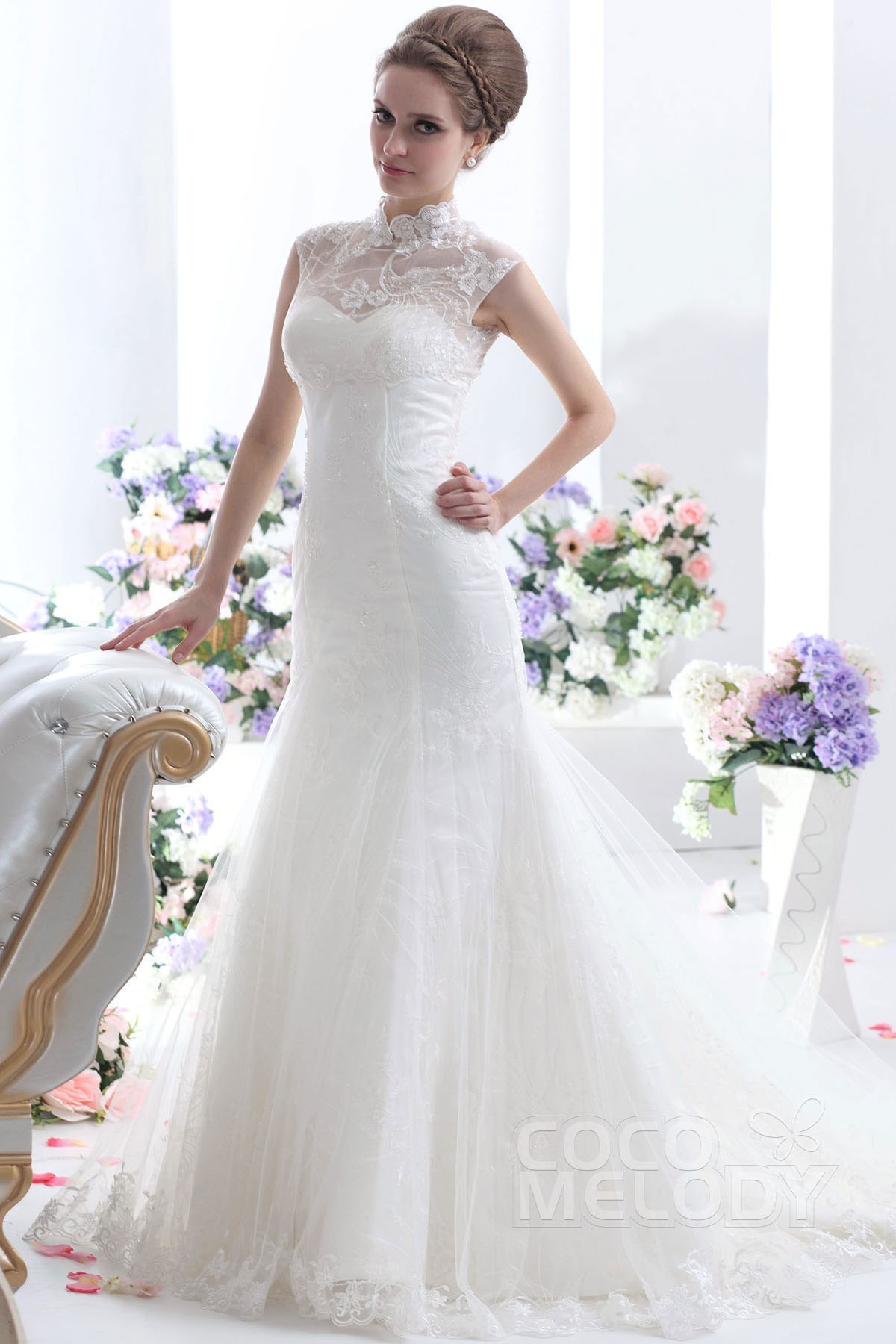 High Neck Chapel Train Lace Wedding Dress Wedding Dresses