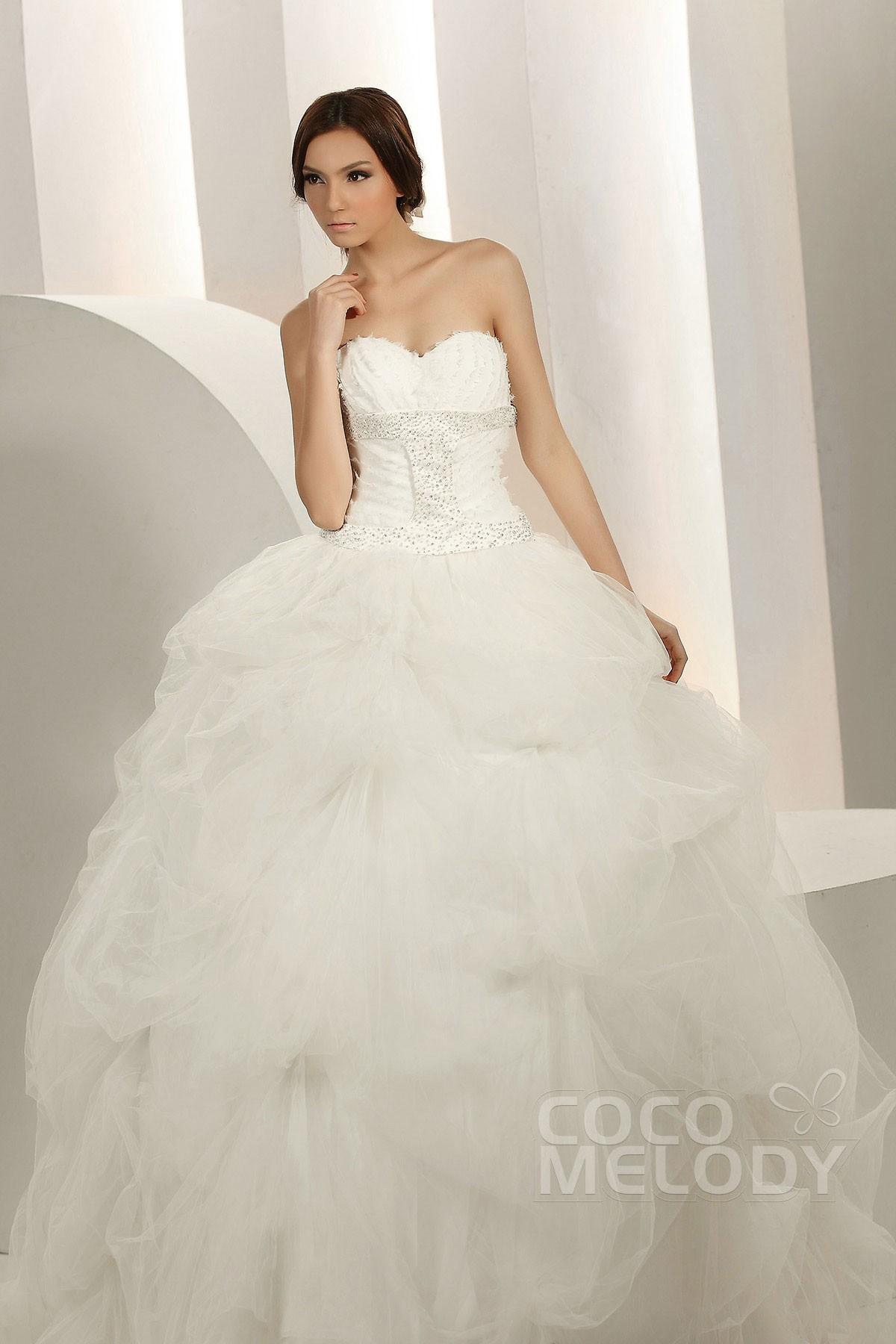 Modest Ball Gown Sweetheart Chapel Train Tulle Wedding Dress CWZT1303F